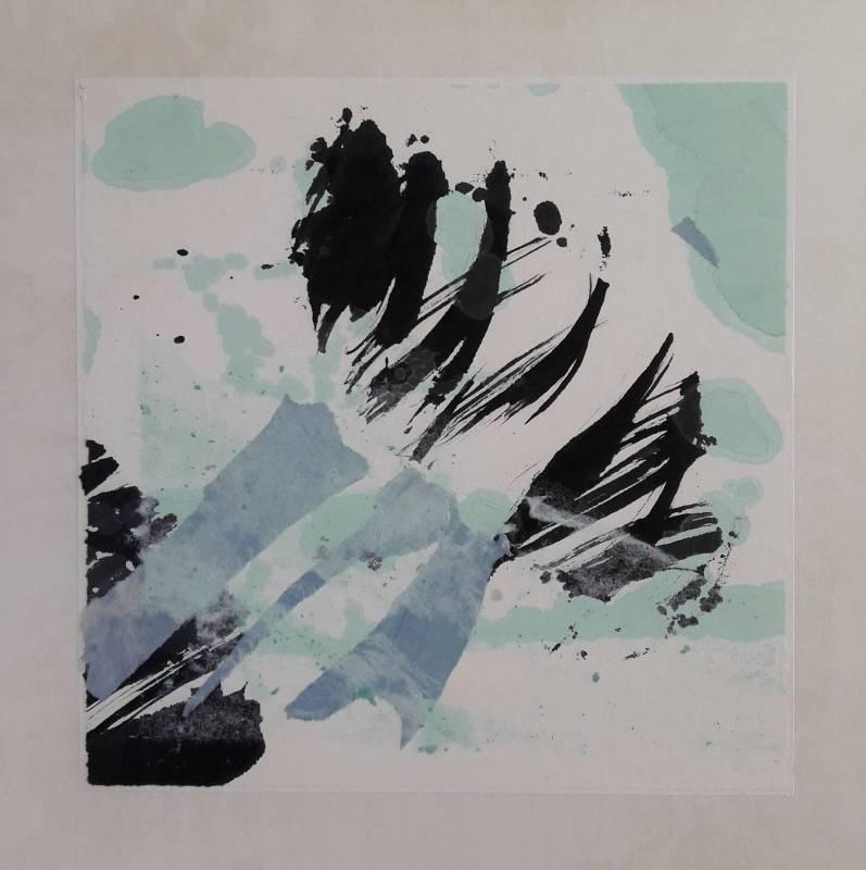 自然之幻-水光 水墨 宣紙 手抄紙 畫布 34.5x35cm 2018