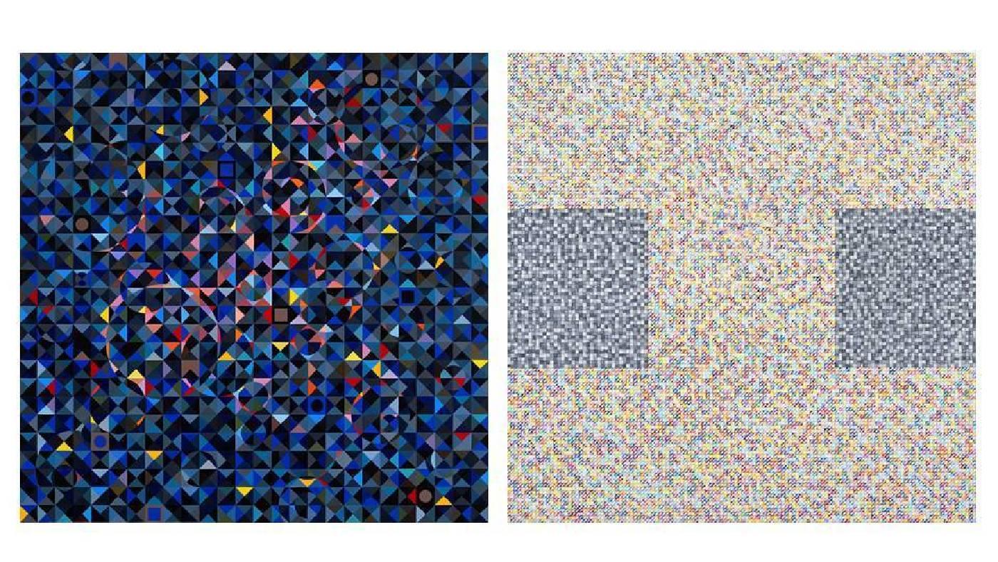 左圖:莊普,《曜》,2019,壓克力顏料/畫布,130 x 130 cm;右圖:莊普,《聆聽者》,2018,壓克力顏料/畫布,130 x 130 cm