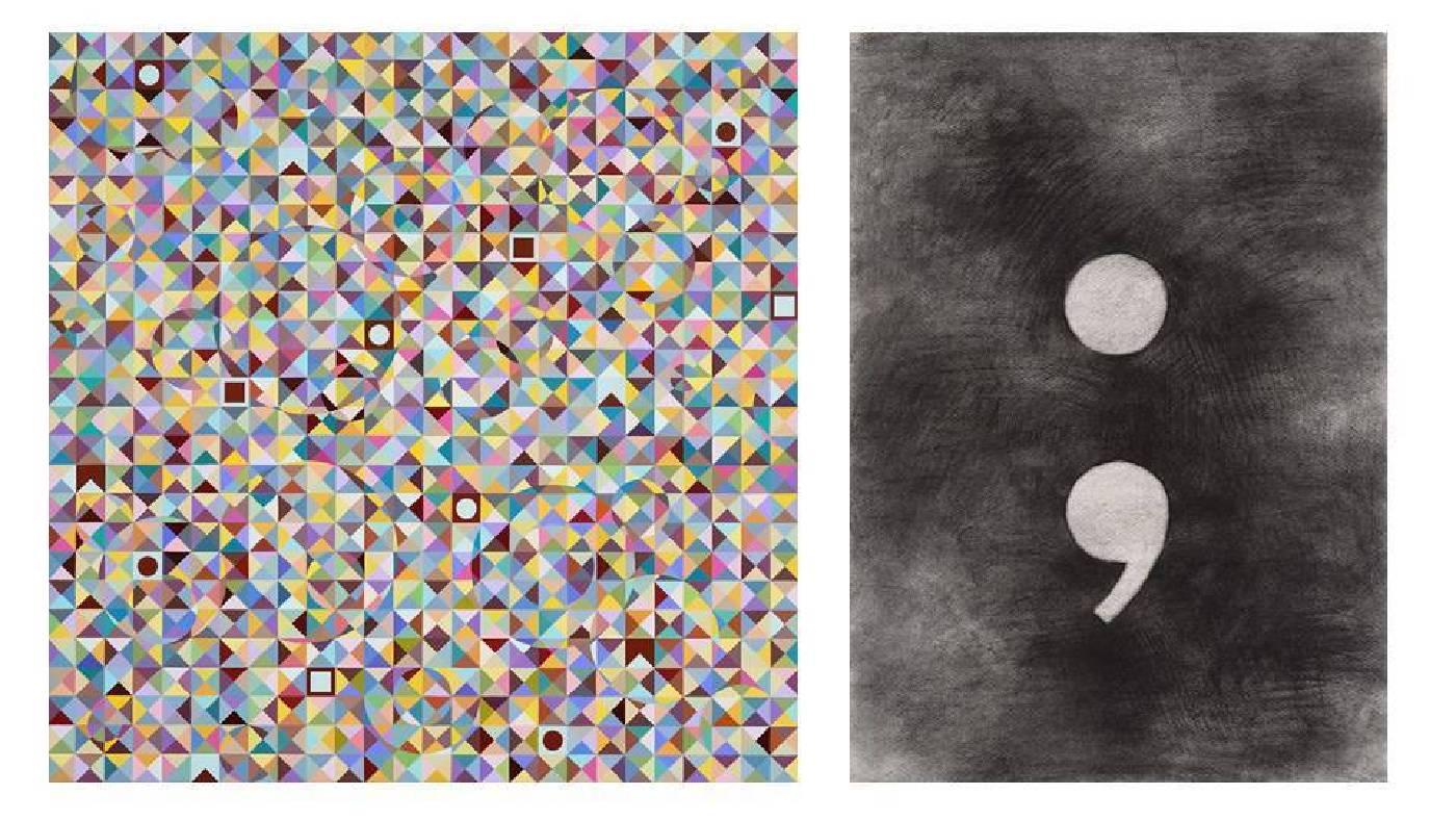 左圖:莊普,《歲月》,2019,壓克力顏料/畫布,130 x 130 cm;右圖:莊普,《有逗點句點的風景》,2005,壓克力顏料/畫布,52.1 x 37.5 cm