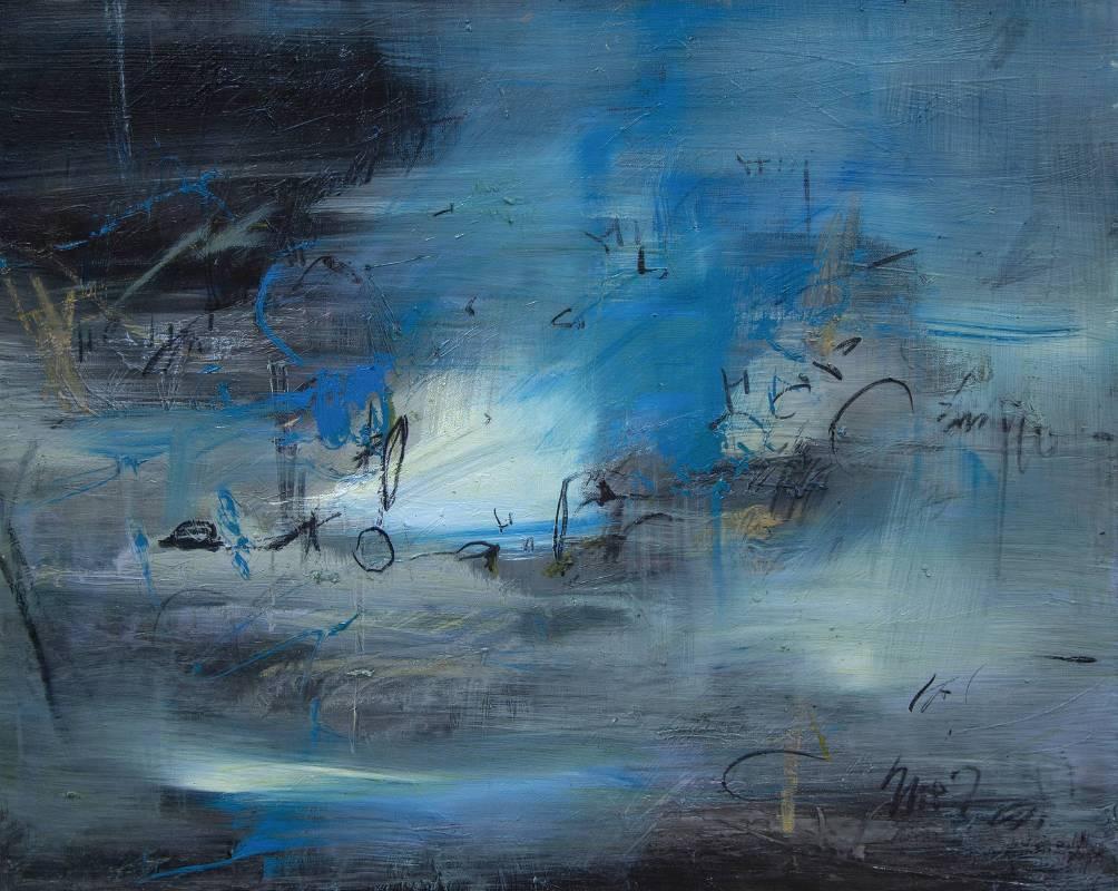 謝其昌 Hsieh Chi-Chang /書寫自然系列-夜來風雪過江寒Writing Nature Series-The night comes through the snow is chilly綜合媒材、畫布Mixed media on canvas72.5x91 cm 2017