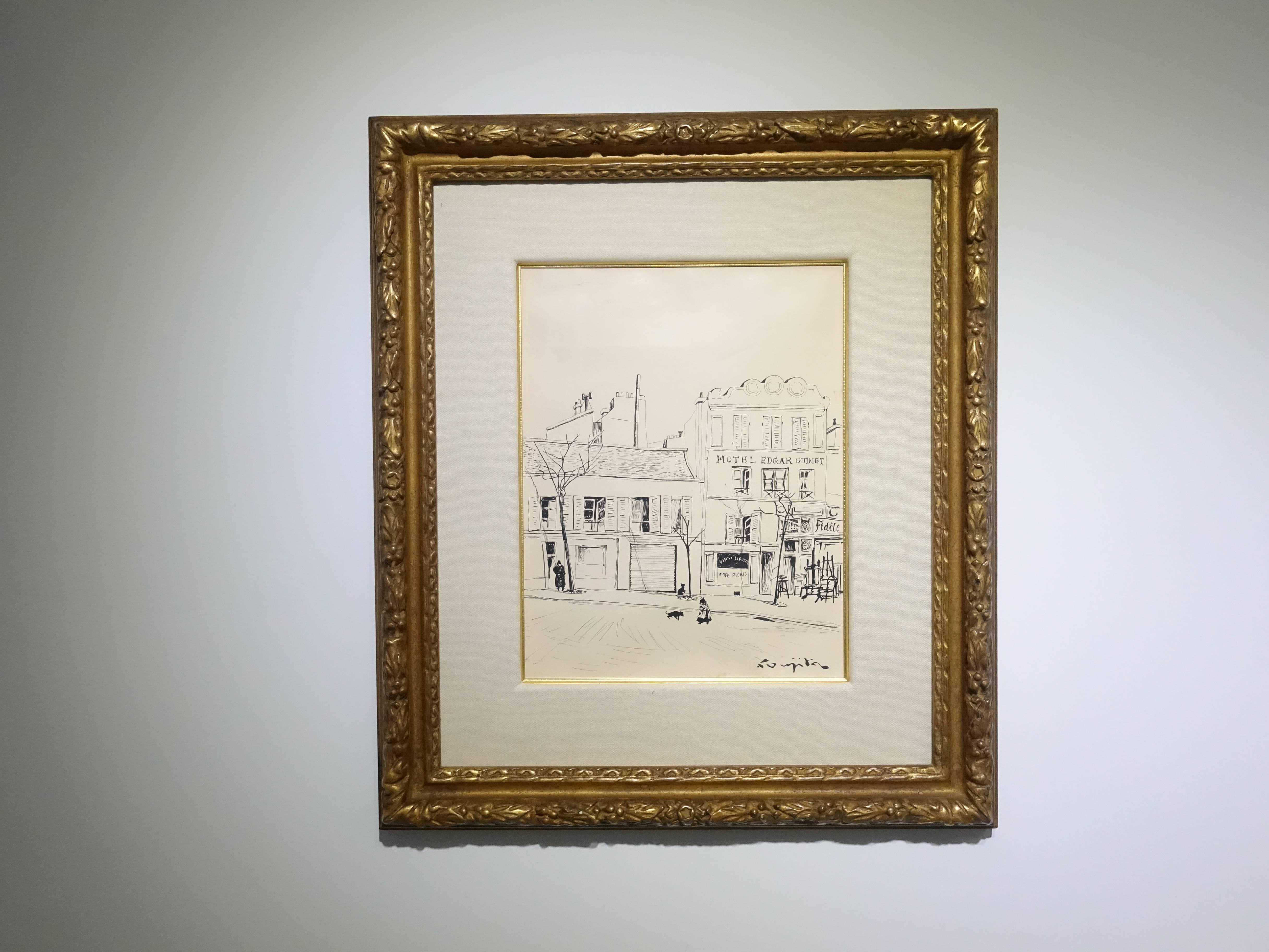 藤田嗣治,《巴黎埃德加基內酒店》,31.5x24.3 cm,紙上素描,1950。