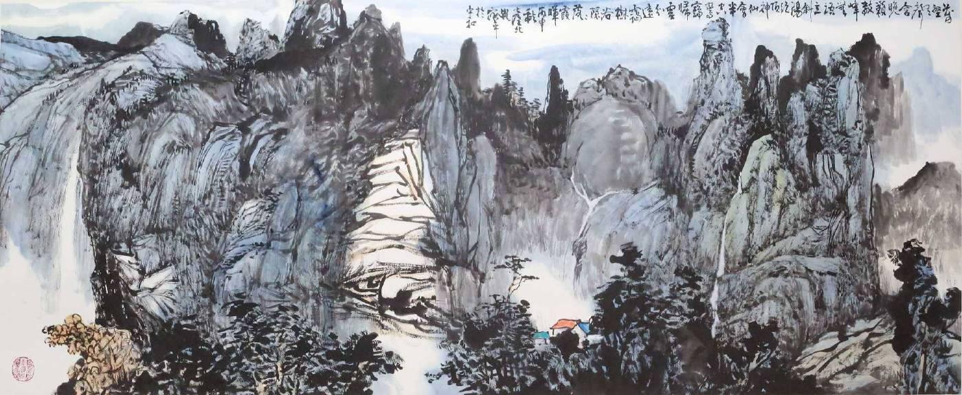 孔依平 《山水圖》 水墨 紙本  169×高62㎝
