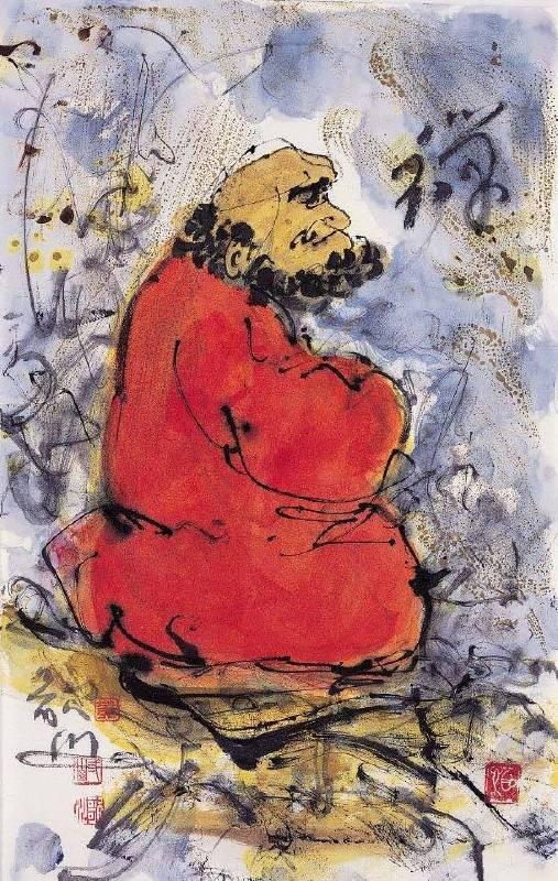 黃歌川 禪47x30cm 達摩禪畫2005