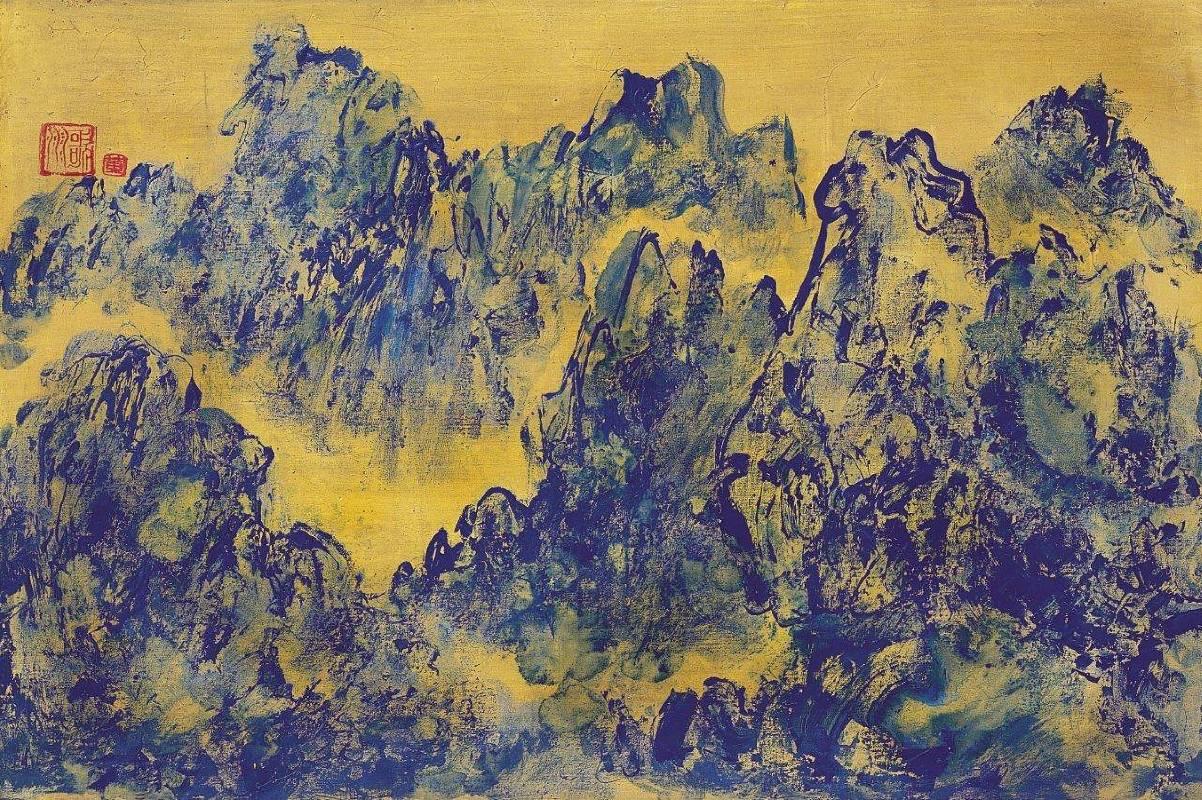 黃歌川 古典蒼山秋境 30M (60.5x91cm) 油畫2006