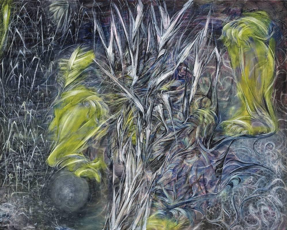 謝鴻均,《觀看之道》 Ways of Observing,2019,油彩、畫布 Oil on canvas,162×120 cm。圖/安卓藝術提供