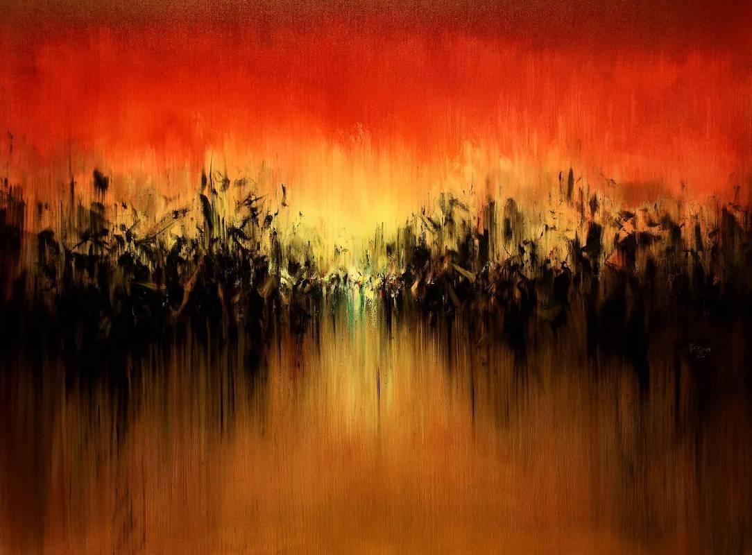 呂榮琛│紅色的天空│80F│油畫│2019