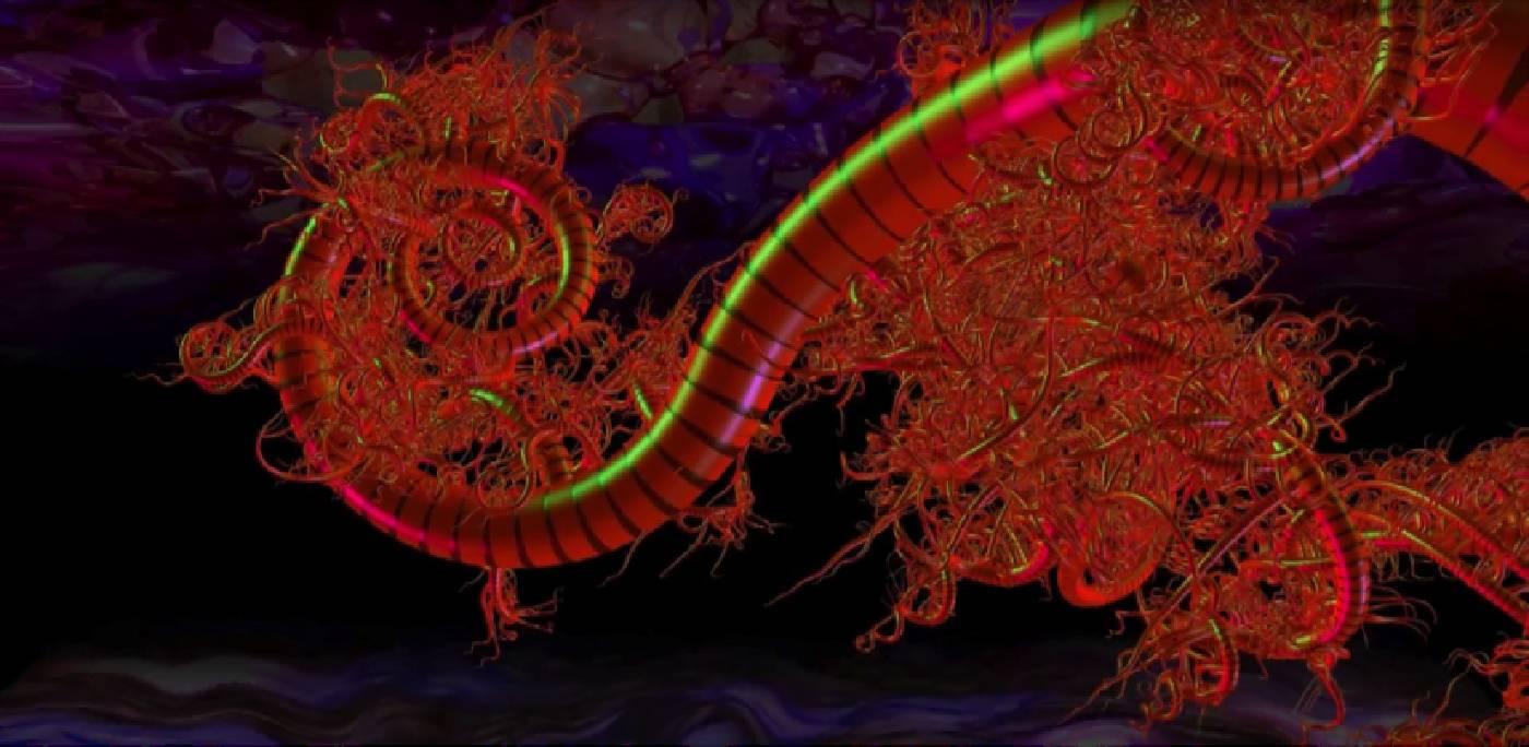 研究電子圖像衍生的藝術家河口洋一郎(Yoichiro KAWAGUCHI)將以雕塑與影像共構空間參與本次展演。作品〈成長卷鬚 Growth Tendril〉,圖片由藝術家提供。