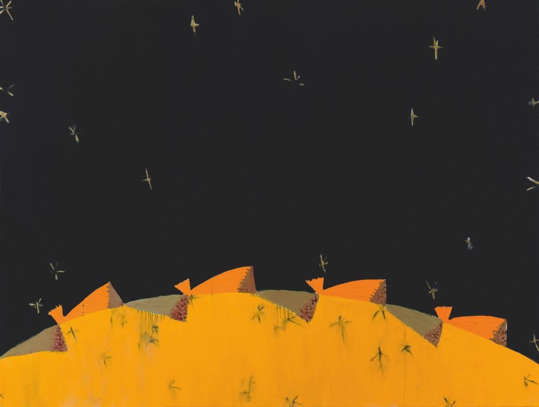 時空酣暢—穹蒼, 150x200cm, 油彩、蜂蠟 、畫布, 2019