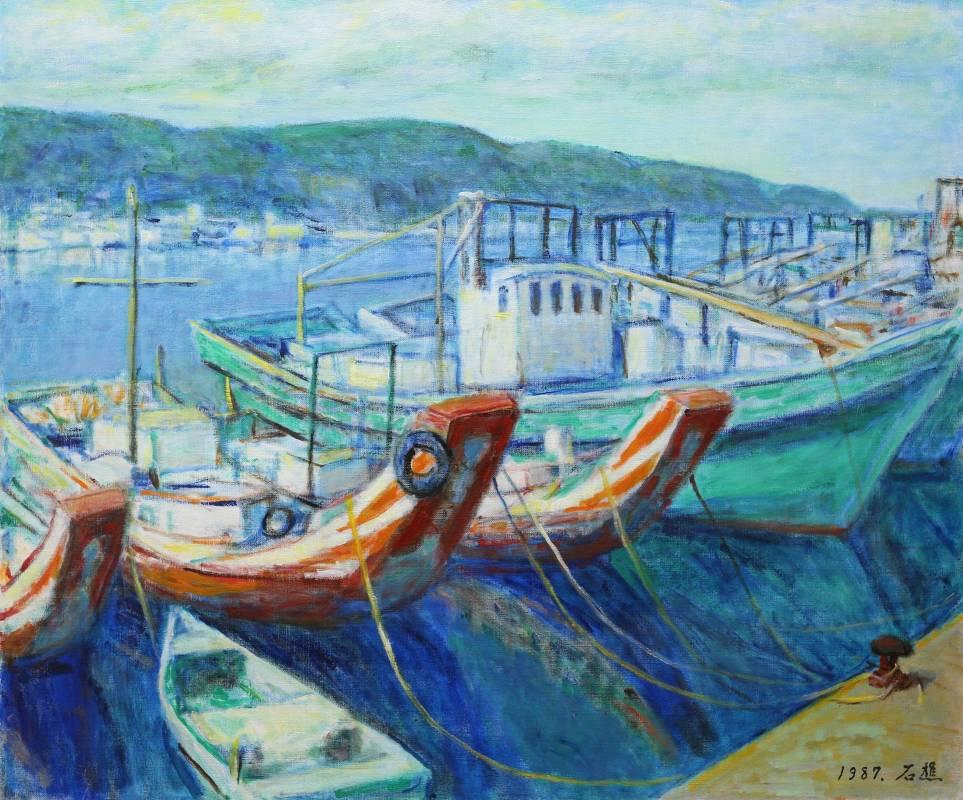 李石樵 八斗子漁港 1987年 60.5x72.5xcm 油彩畫布
