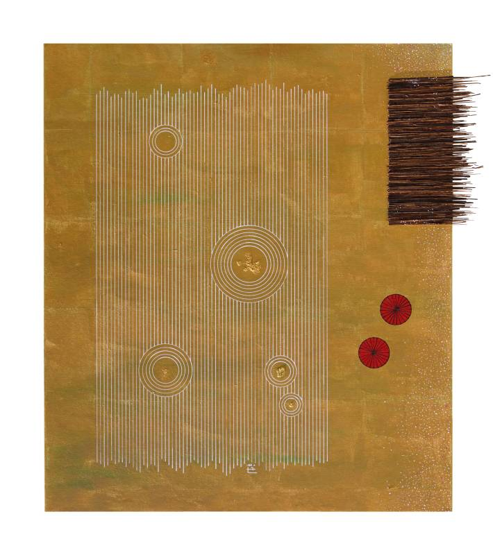 Baptiste Tavernier | 枯⼭⽔ Zen Garden Acrylic, Posca, branches on shikishi | 53 x 48 cm | 2019