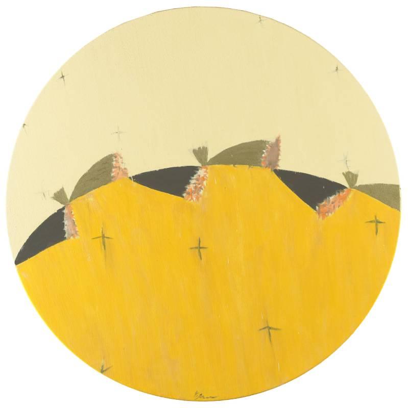 時空的呼吸—巡田, 直徑100cm, 油彩、蜂蠟、畫布, 2019