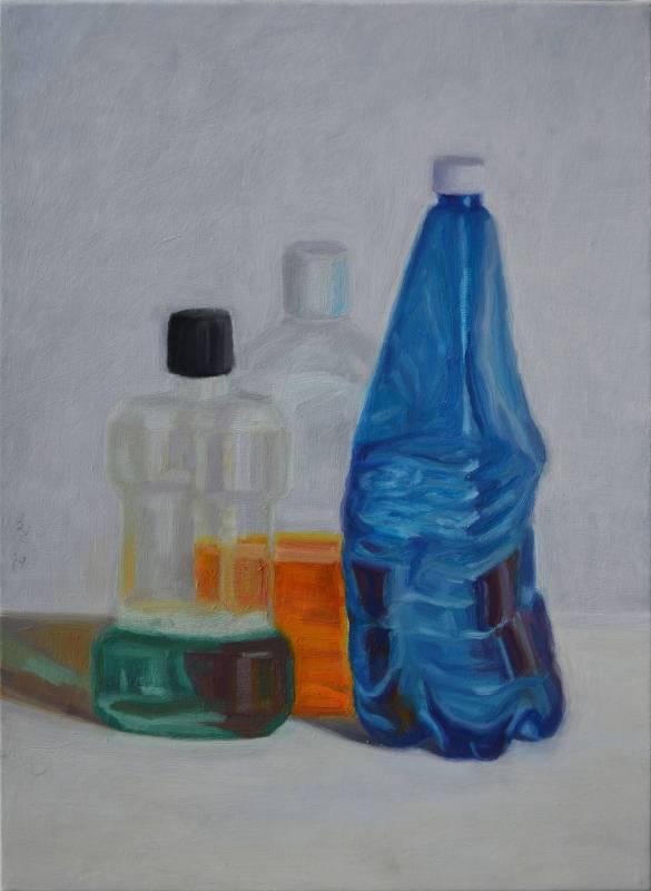 plastic 01  油畫顏料、畫布、黃素描紙、墨水  45.5 x 33 cm   2019