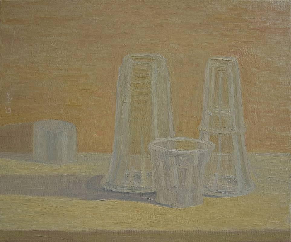 plastic 02油畫顏料、畫布、黃素描紙、墨水38 x 45.5 cm2019