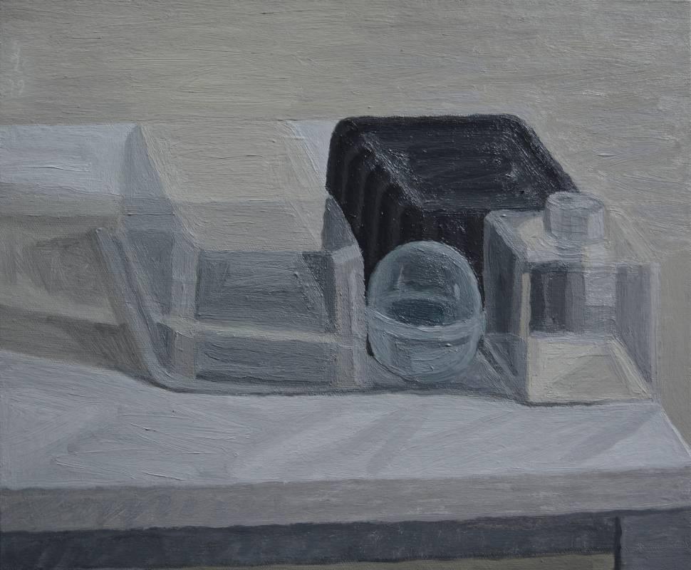 plastic 04油畫顏料、畫布、黃素描紙、墨水38 x 45.5 cm  2019