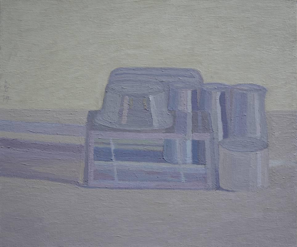 plastic 05油畫顏料、畫布、黃素描紙、墨水38 x 45.5 cm 2019