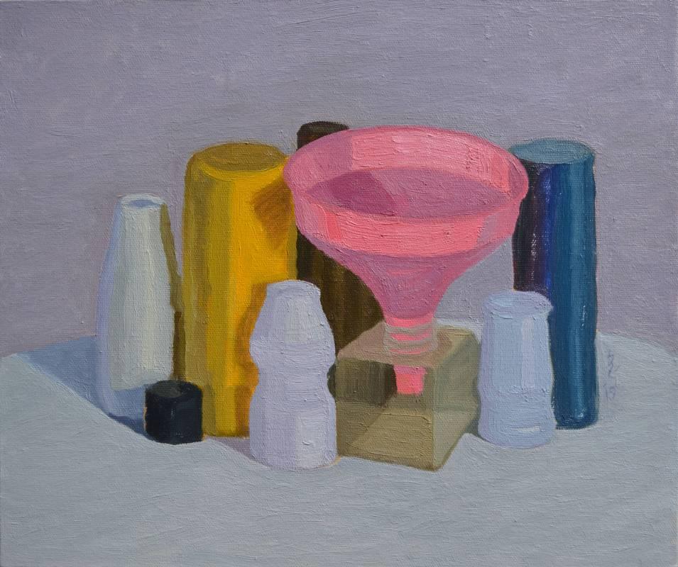 plastic 06油畫顏料、畫布、黃素描紙、墨水38 x 45.5 cm2019