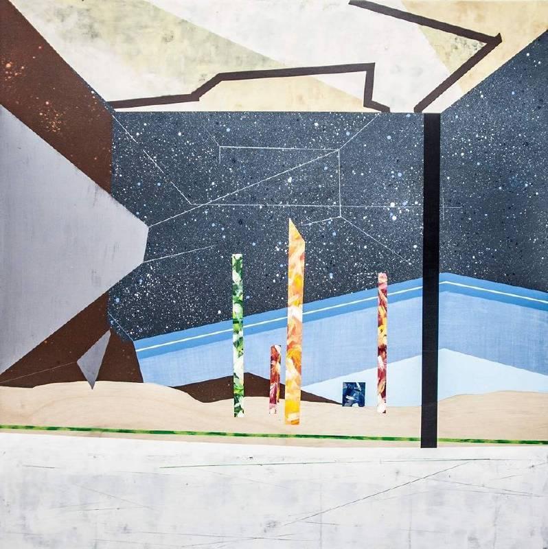 《移植∞繁殖計畫 26》Transplant ∞ MultipliationPLan 26, 2018-2019, wood board, acrylic, pencil, charcoal pencils, 120 x 120 x 5 cm © Chang Hsien-Wen, courtesy G.Gallery