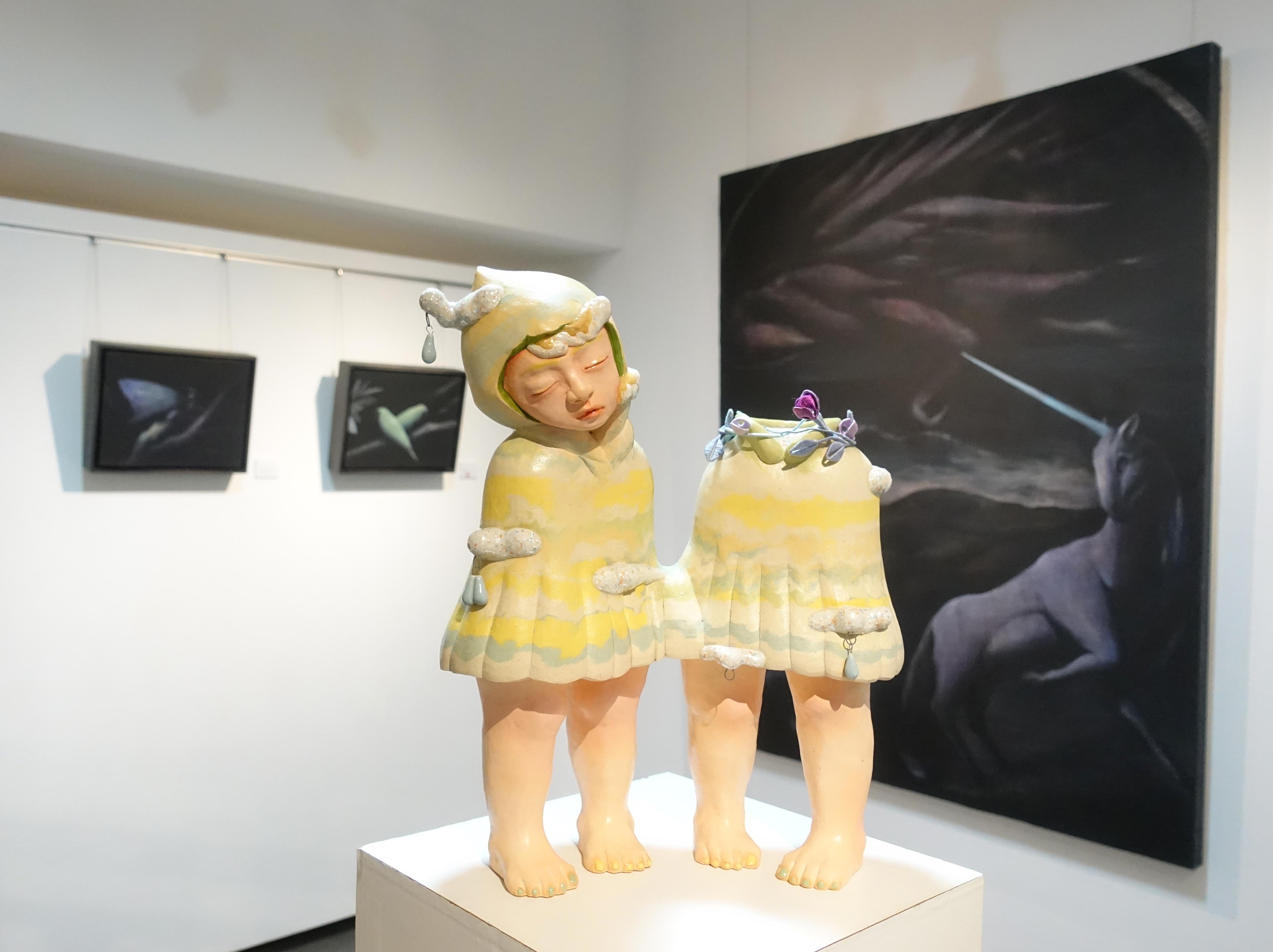 楊宗嘉,《積雨雲》,35 x 15 x 40cm,陶瓷、釉下彩、釉上彩、釉藥,2018。