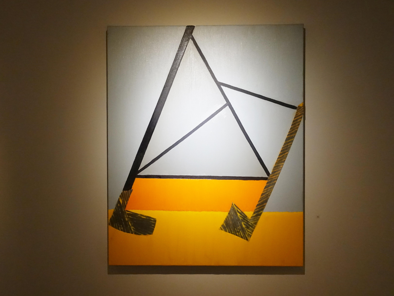劉永仁,《呼吸聚焦之二》,80x65cm,油彩、蜂蠟、鋁片、畫布,2019。