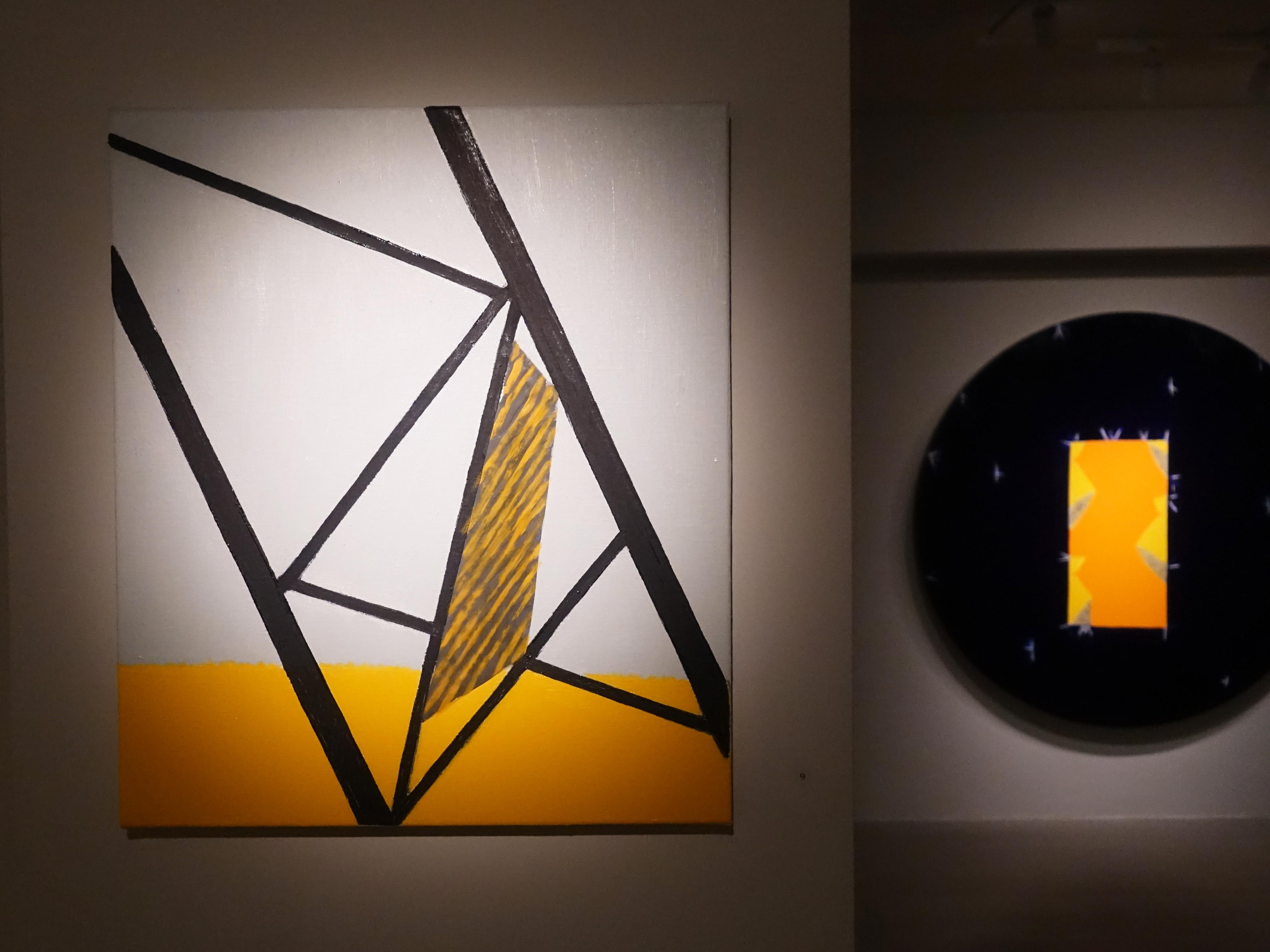 劉永仁,《游移疆界之三》,53x45.5cm,油彩、蜂蠟、鋁片、畫布,2019。