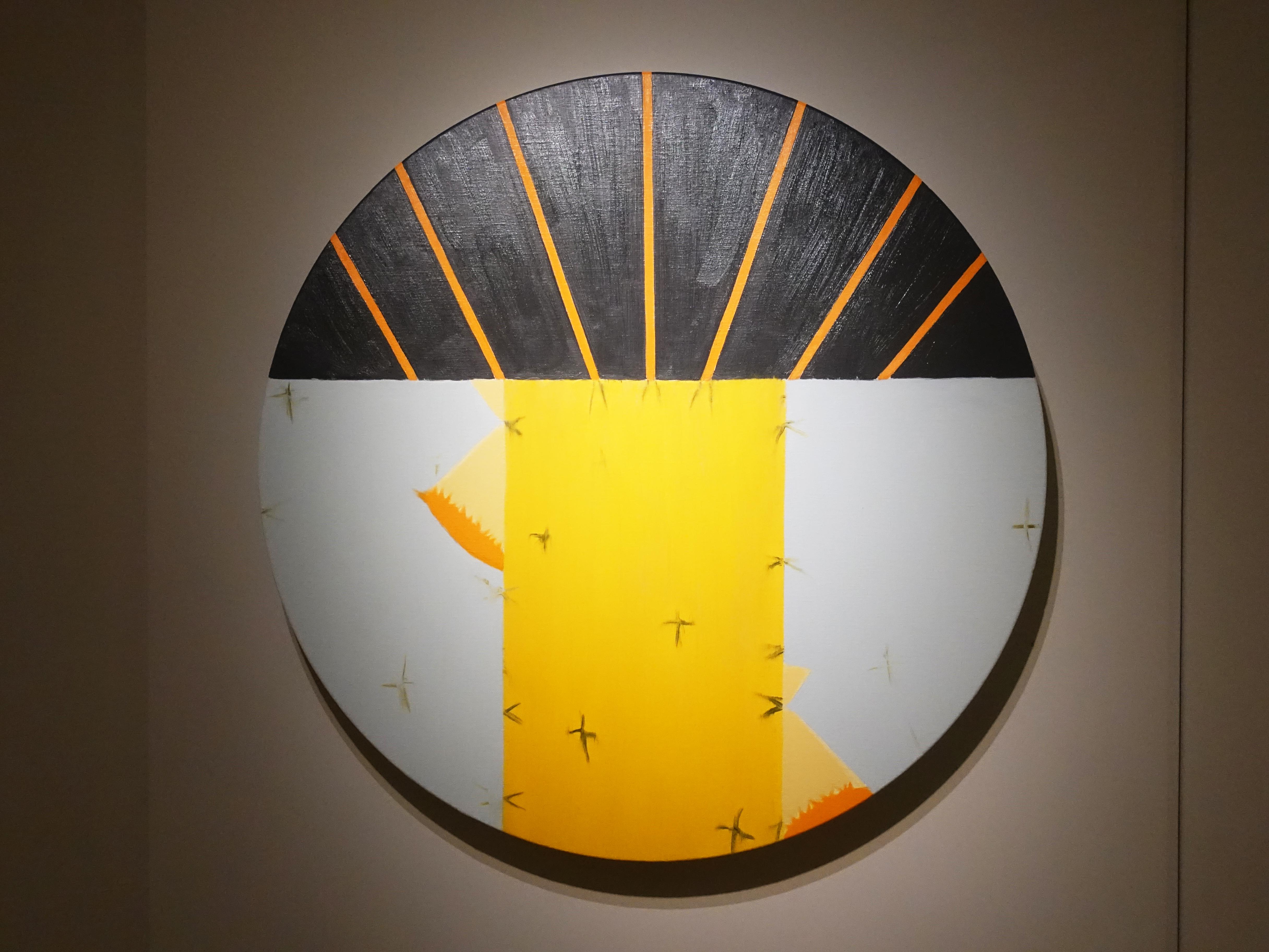 劉永仁,《時空的呼吸-晤光》,直徑100cm,油彩、蜂蠟、畫布,2019。