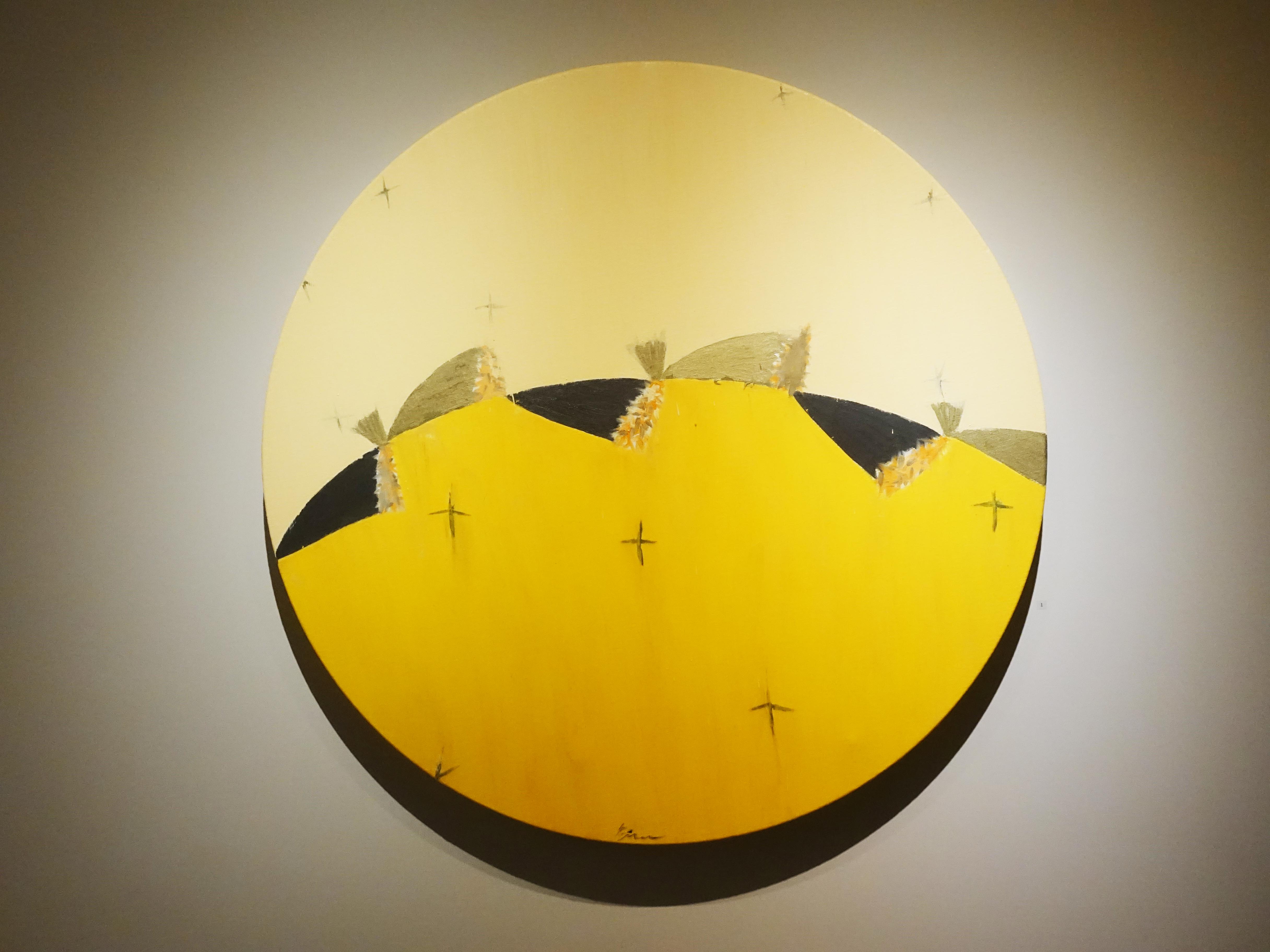 劉永仁,《時空的呼吸-巡田》,直徑100cm,油彩、蜂蠟、畫布,2019。