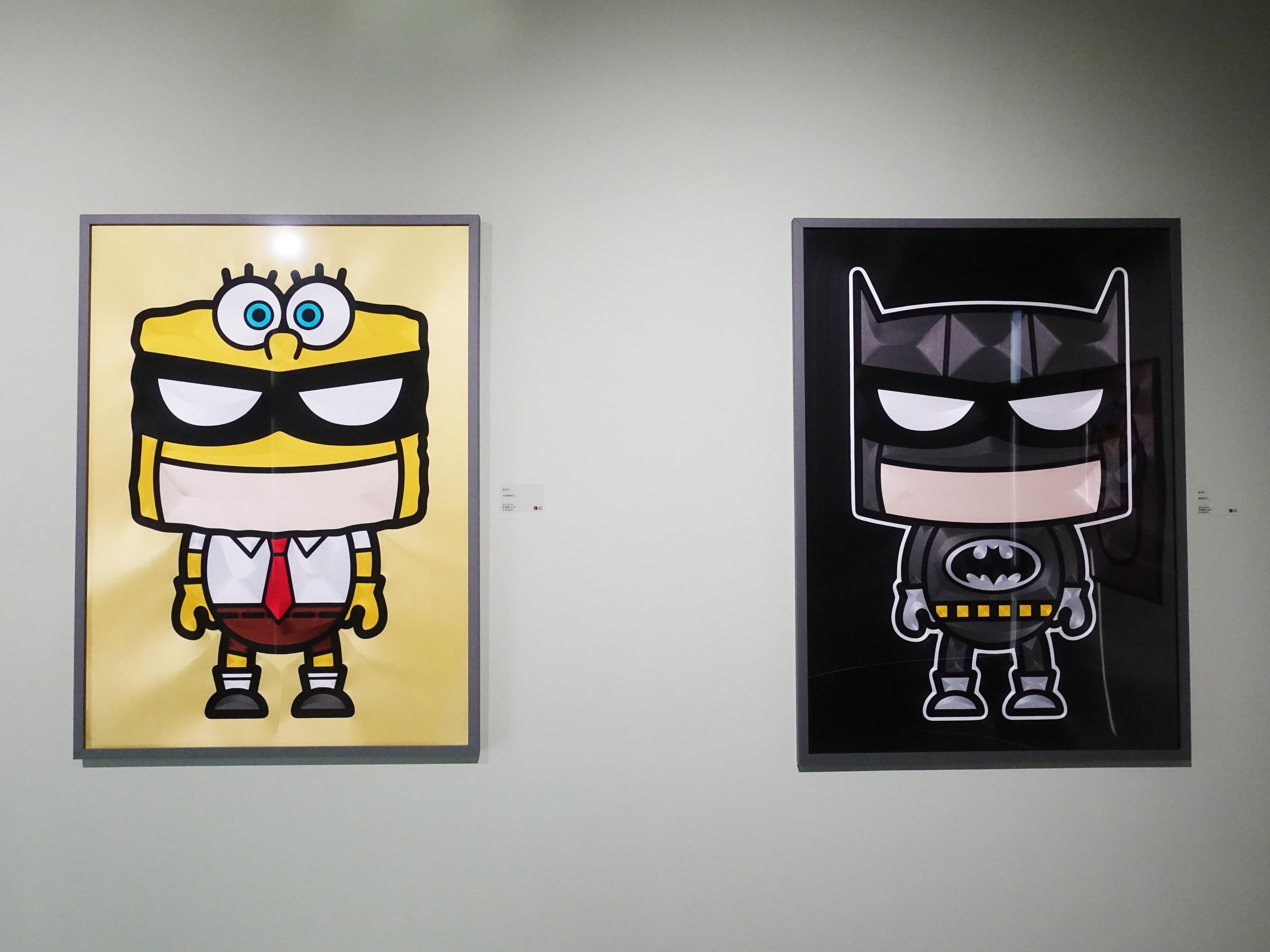 蔡忠和,《海綿寶寶超人》,80 x 110 cm,點線畫,2018。《扁蝠俠超人》80 x 110 cm,點線畫,2018。