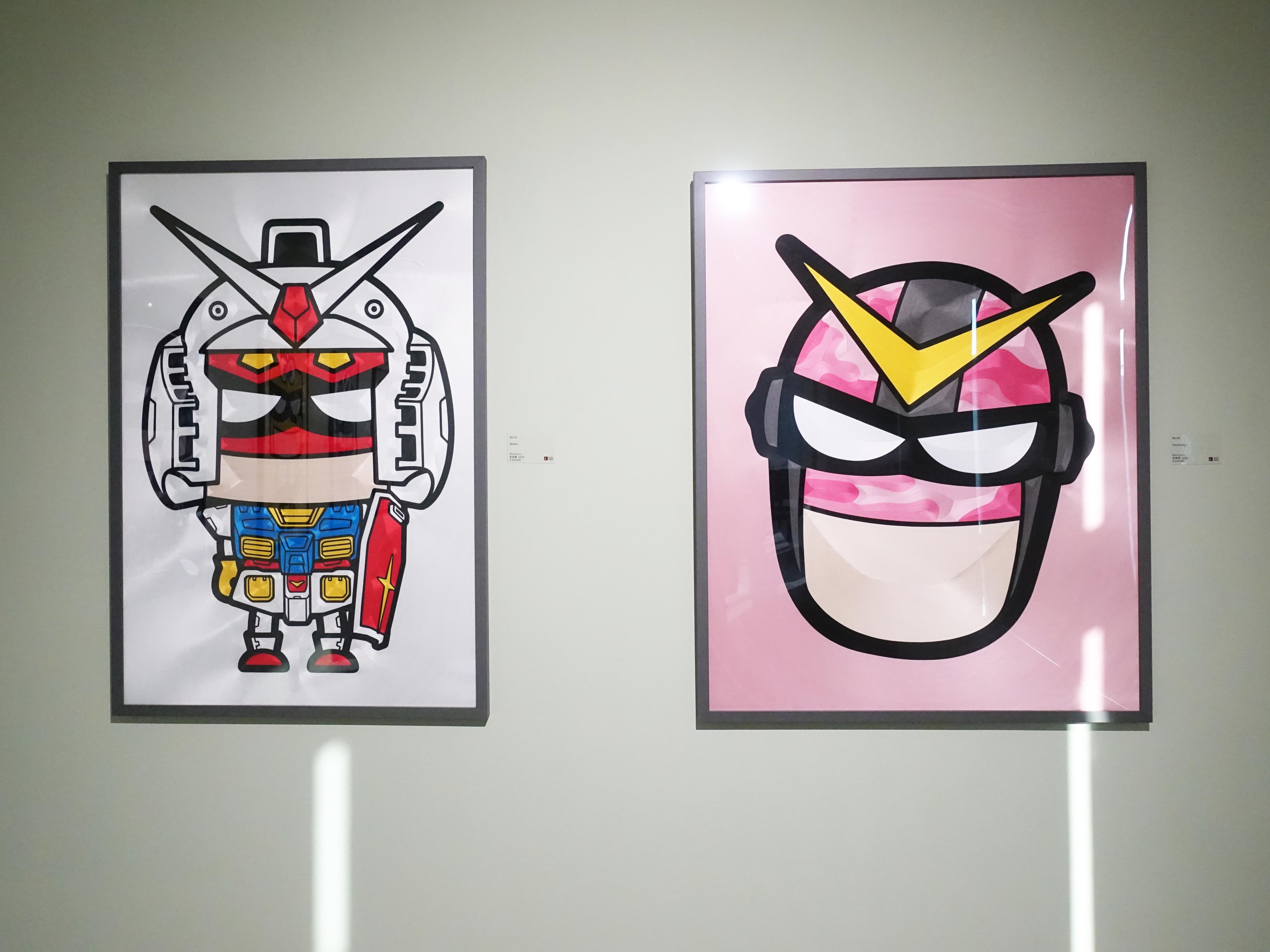 蔡忠和,《鋼彈超人》,80 x 105 cm,點線畫,2018。《粉紅迷彩超人》,80 x 100 cm,點線畫,2018。