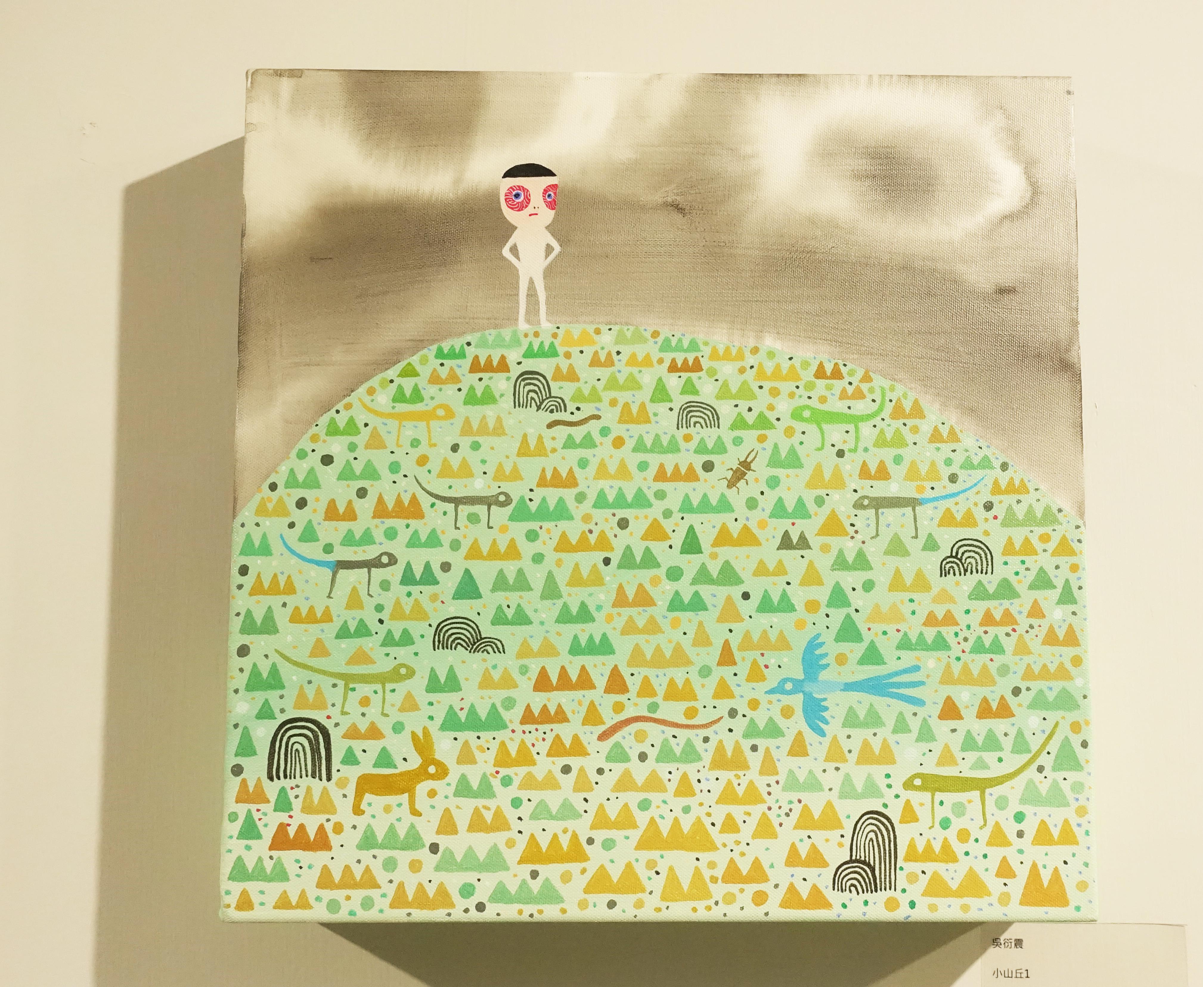 吳衍震,《小山丘1》,35 x 35 cm,壓克力、畫布,2018。