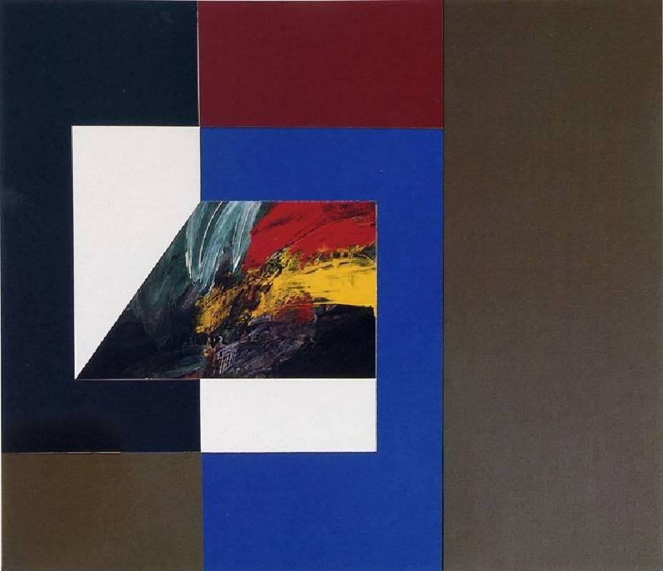 曲德義,形色與色/石墨灰,1991,壓克力顏料/麻布,116 x 134 cm