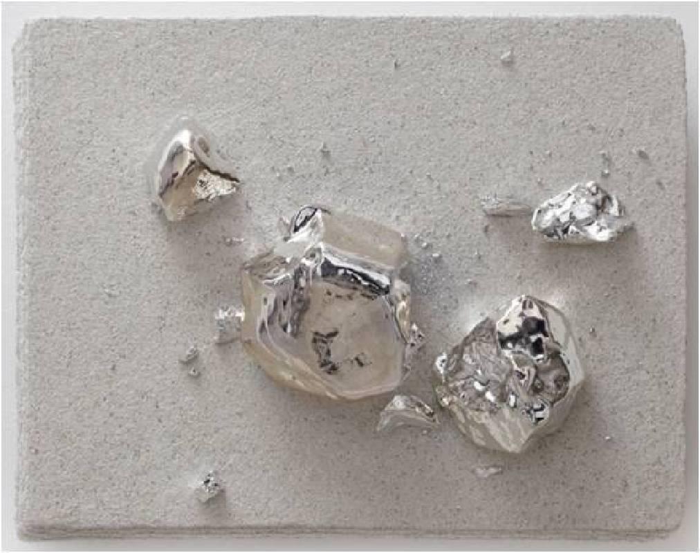 展望,小宇宙23,2012,鑄金屬石塊、紙漿、石粉,61 x 77 x 20 cm