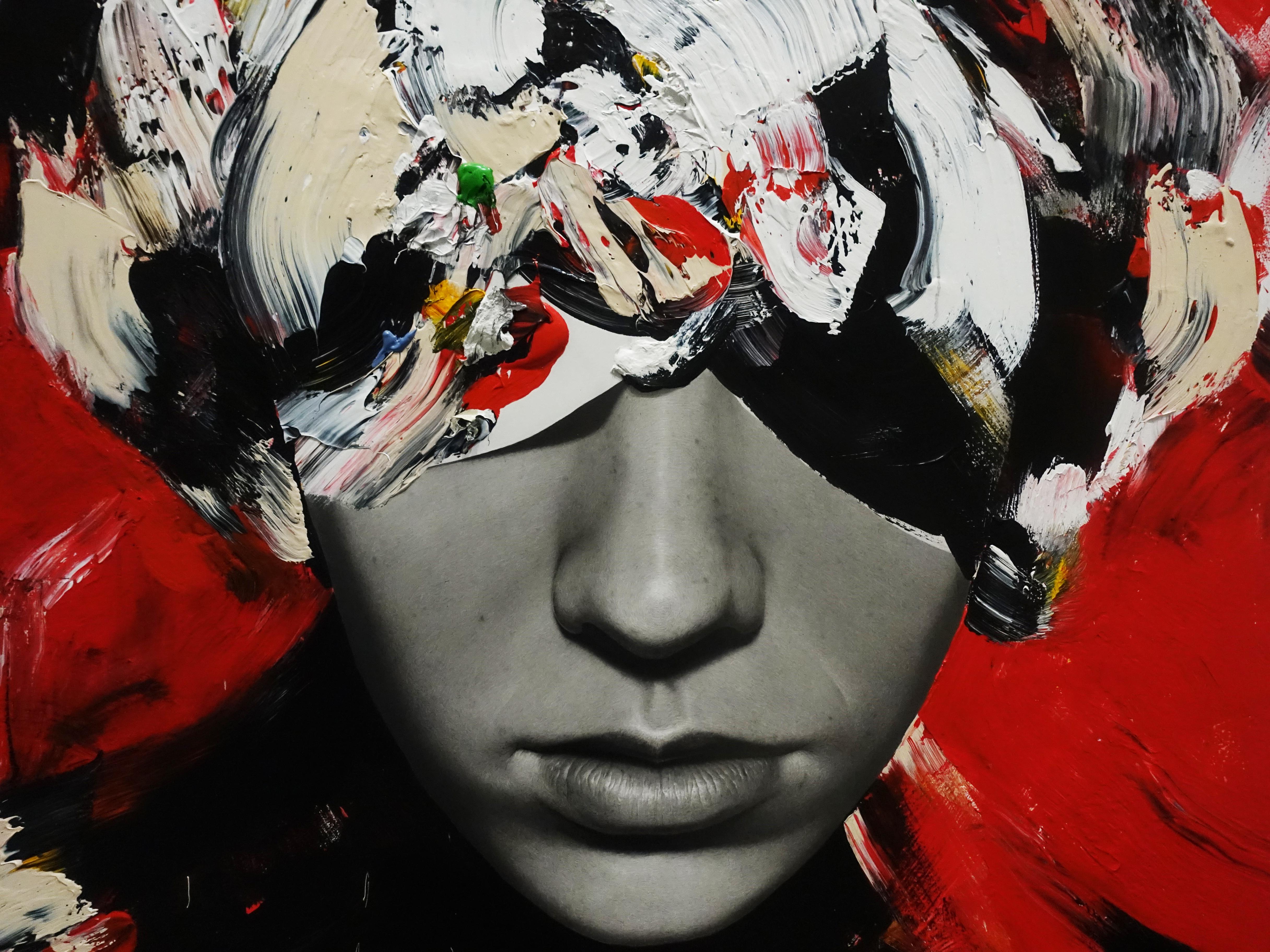 佐藤誠高,《Woman in red dress》細節,130 x 97 cm,鉛筆、壓克力、紙、木板,2019。