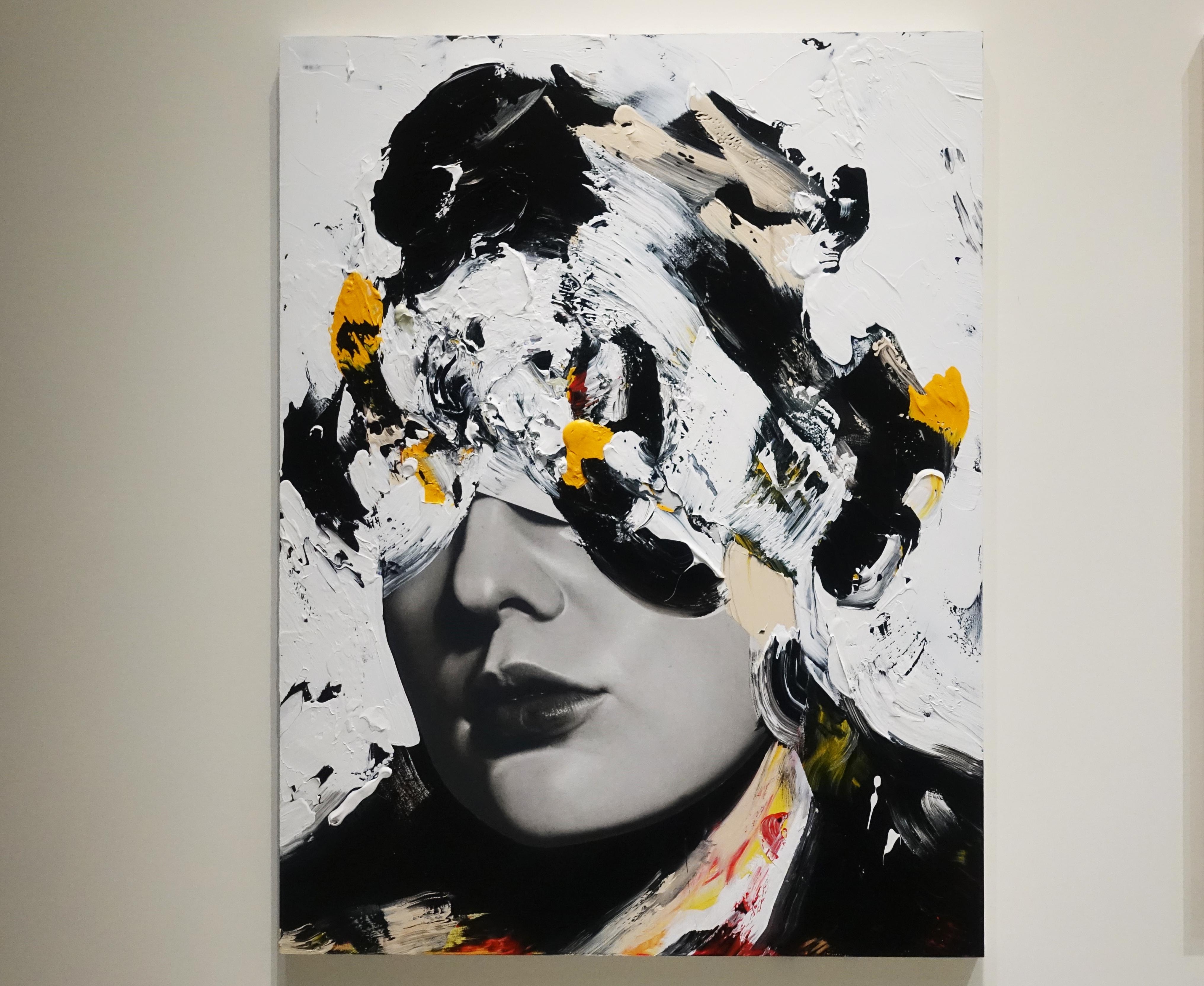 佐藤誠高,《Noblewoman》,140 x 107 cm,鉛筆、壓克力、紙、木板,2019。