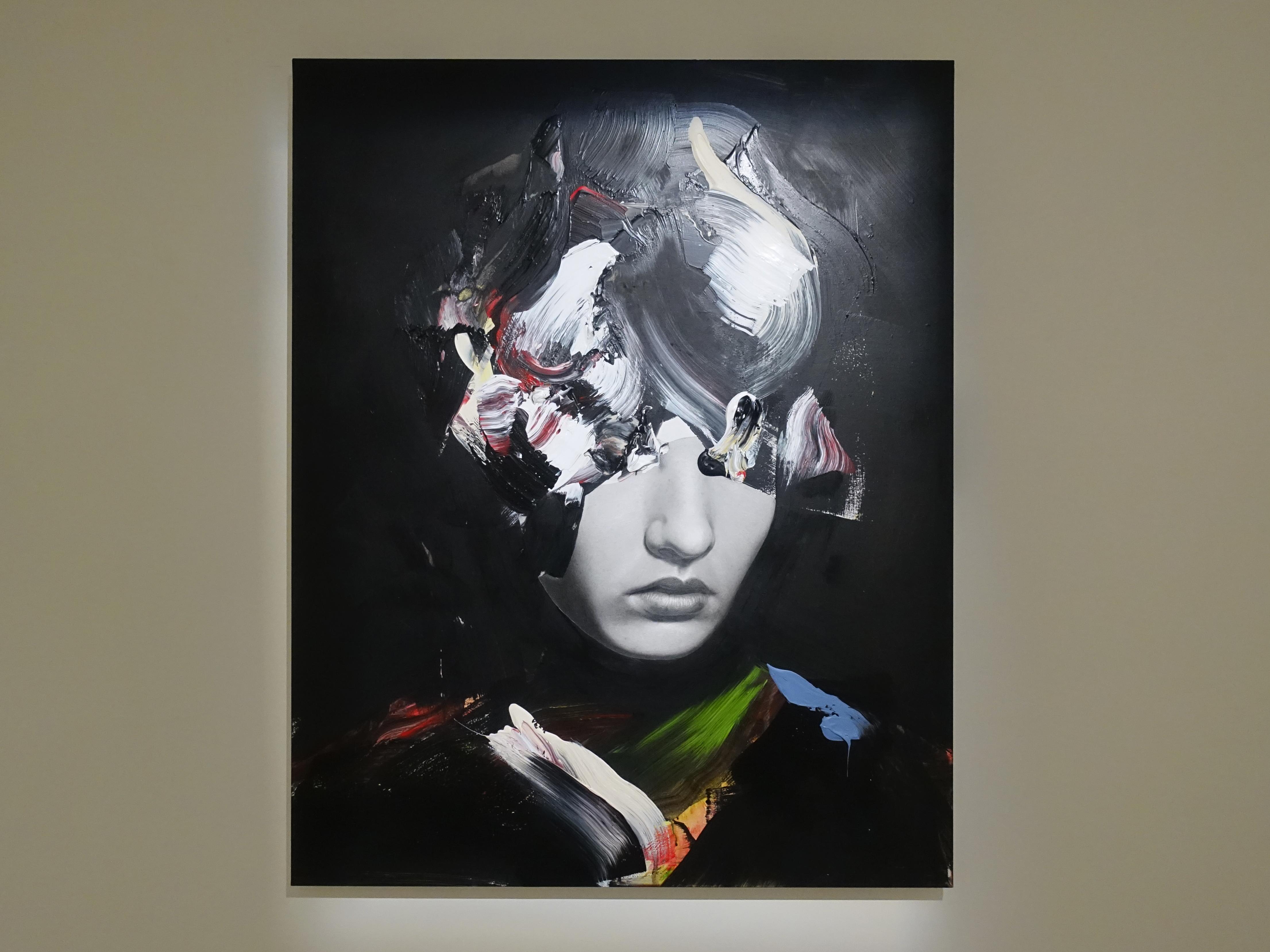 佐藤誠高,《Darkness》,98 x 97cm,鉛筆、壓克力、紙、木板,2019。
