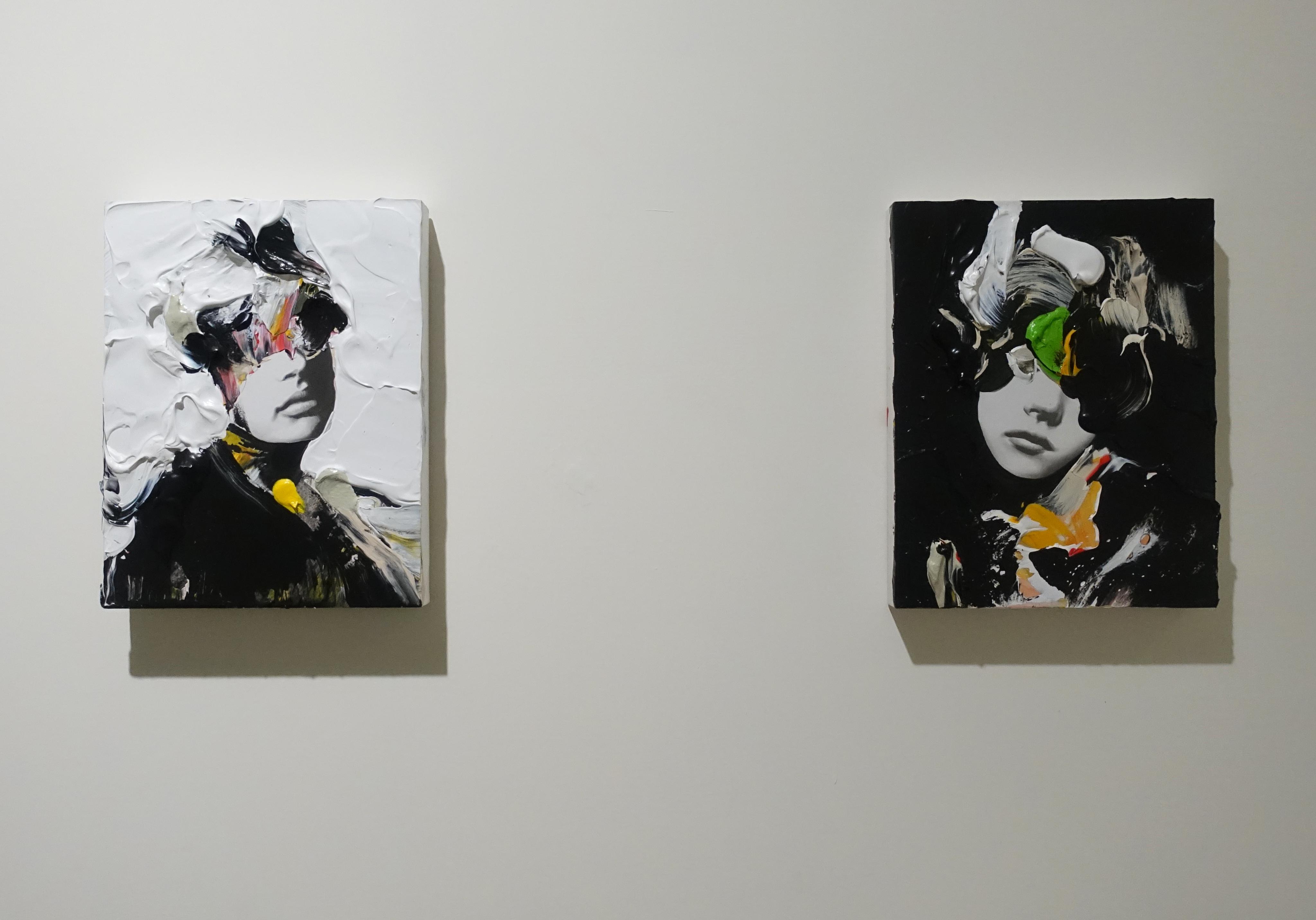 佐藤誠高,《Snip Girl 》系列作品,18 x 14 cm,鉛筆、壓克力、紙、木板,2019。