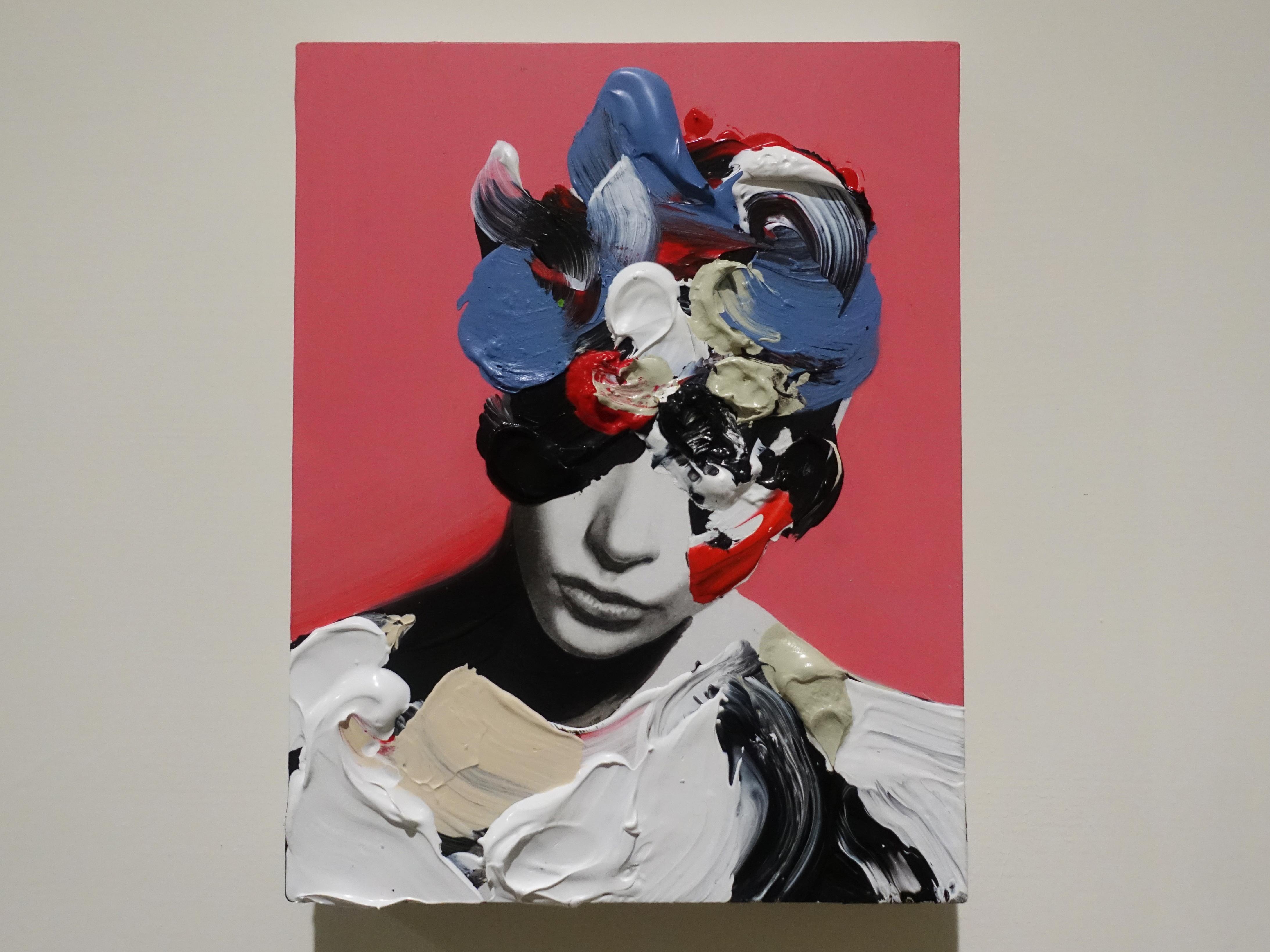 佐藤誠高,《Snip Girl 8》,18 x 14 cm,鉛筆、壓克力、紙、木板,2019。
