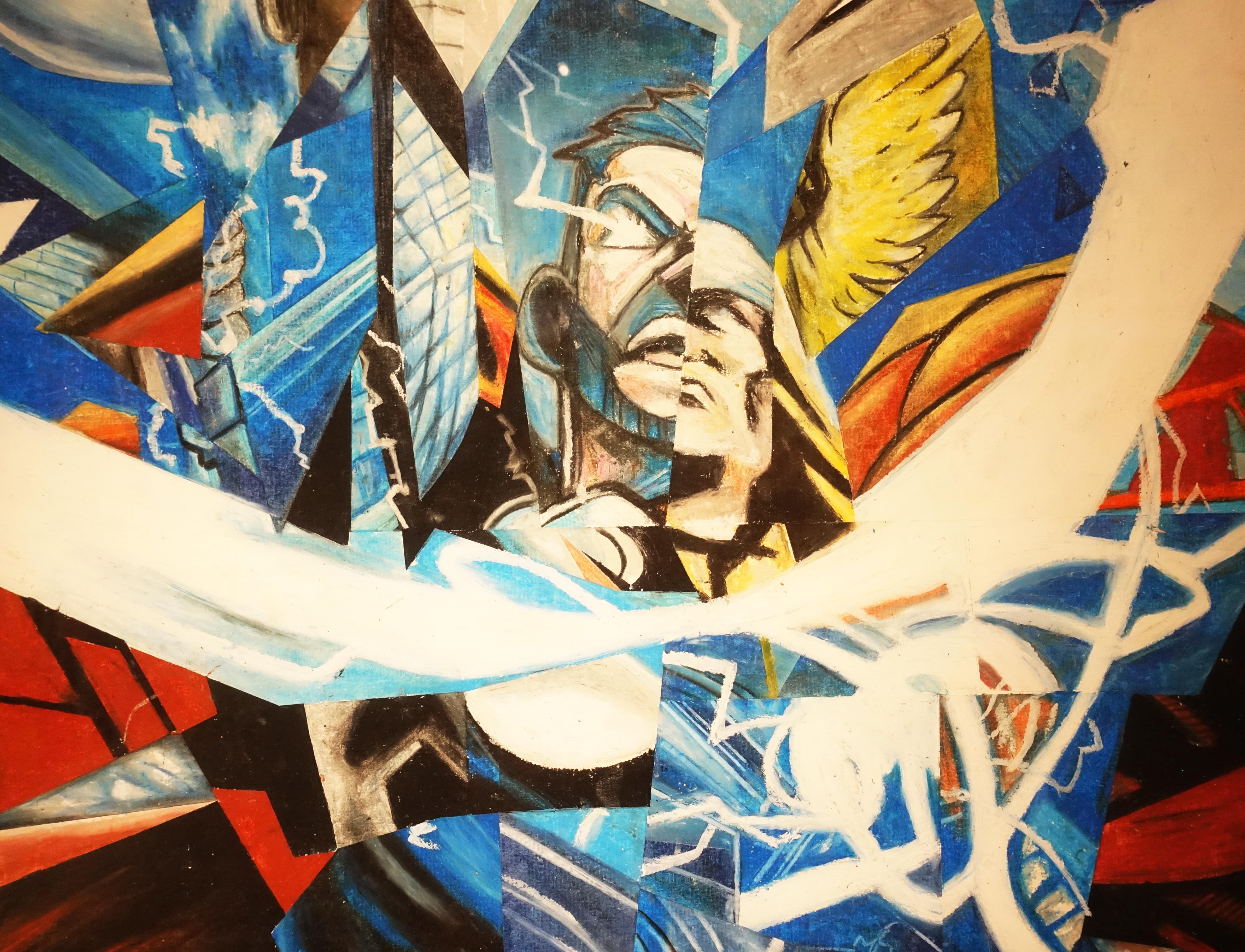 林俊良,《Under the impression of Thor》細節,110 x 61 cm,油畫棒繪於紙上。