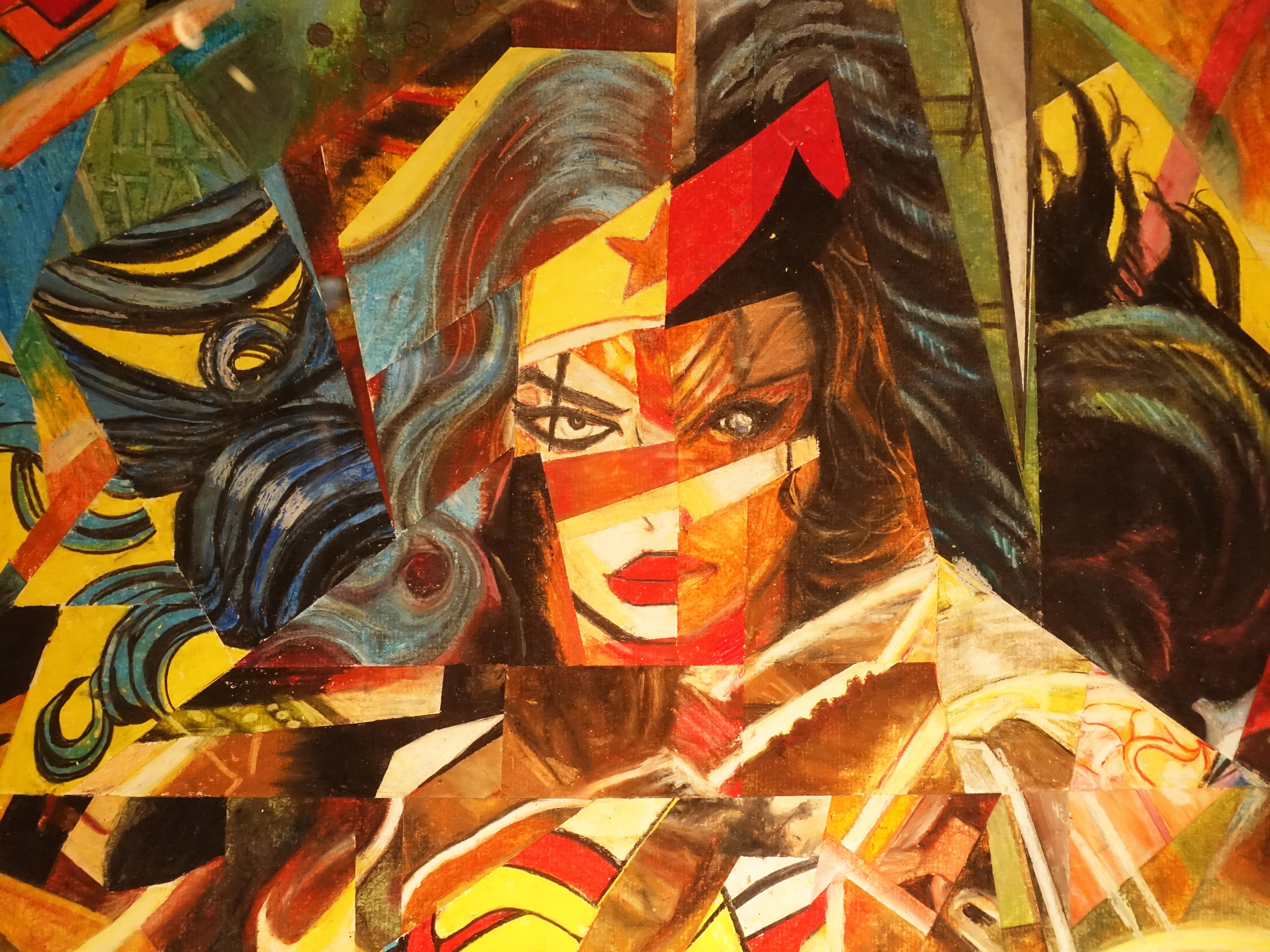 林俊良,《Under the impression of Wonder Woman》細節,110 x 61 cm,油畫棒繪於紙上。