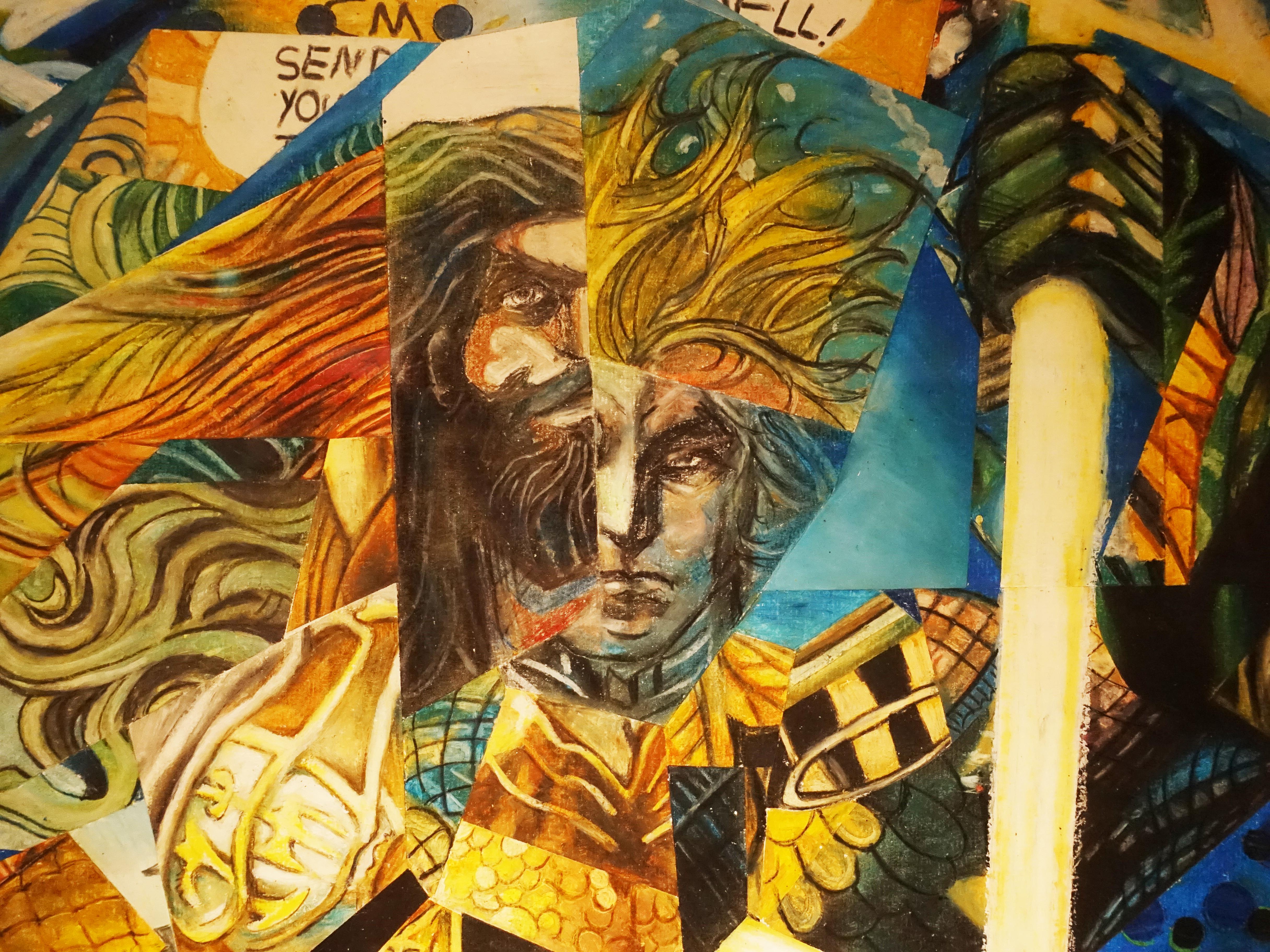林俊良,《Under the impression of AquaMan》細節,110 x 61 cm,油畫棒繪於紙上。