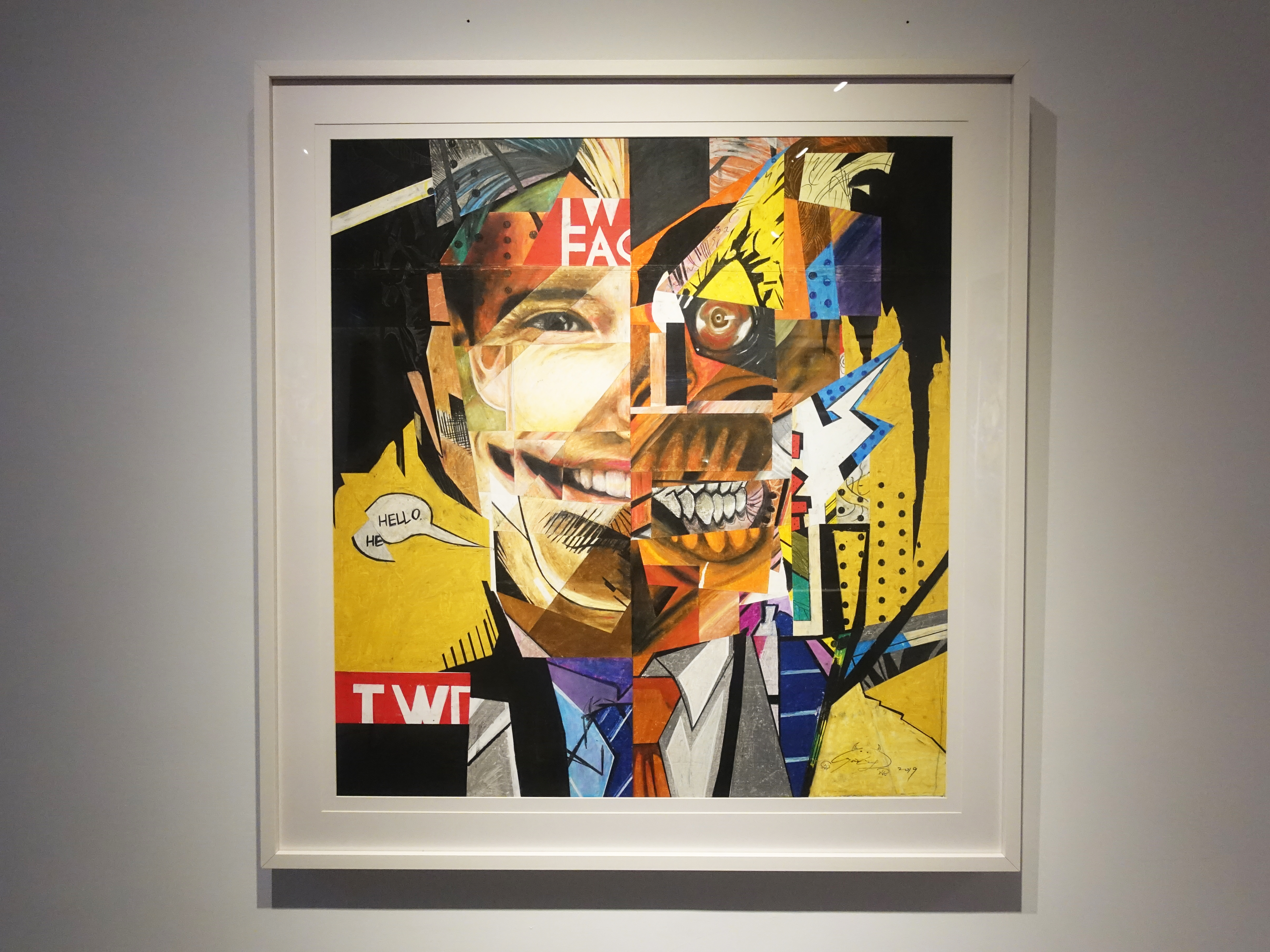 林俊良,《Under the impression of Two Facer》,83 x 83 cm,油畫棒繪於紙上。