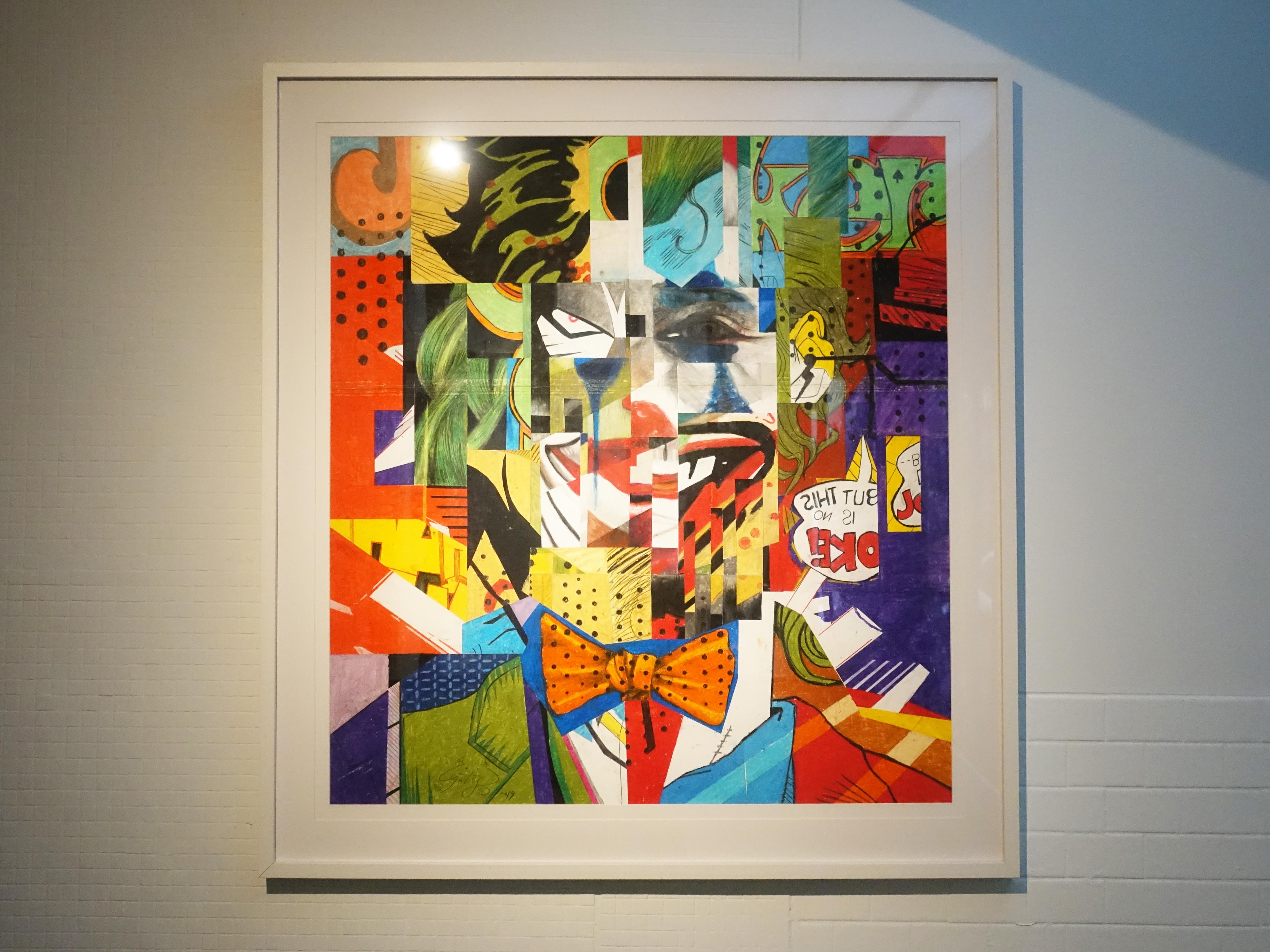 林俊良,《Under the impression of Joker》,80 x 90 cm,油畫棒繪於紙上。