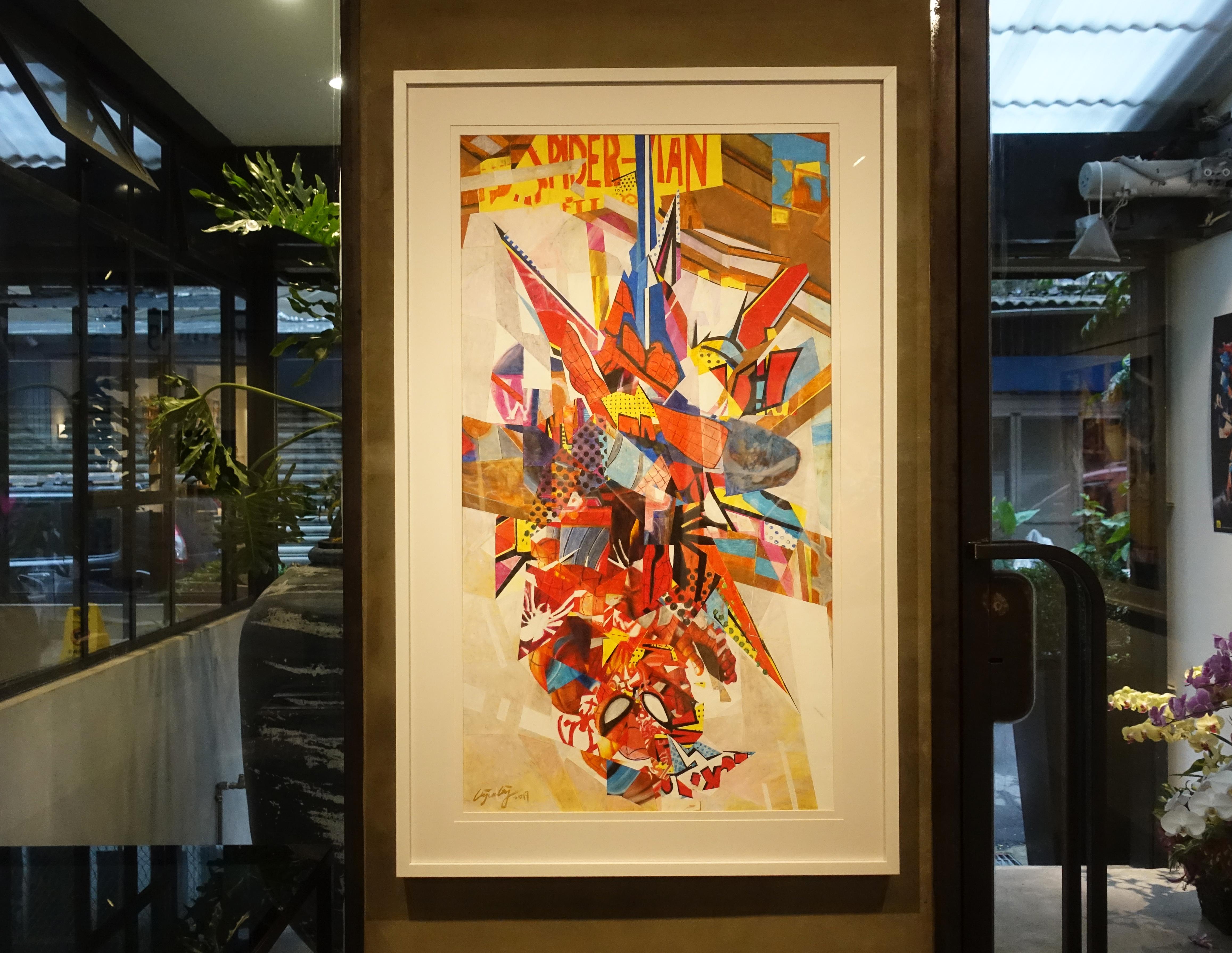 林俊良,《Under the impression of Spicder man》,110 x 61 cm,油畫棒繪於紙上。