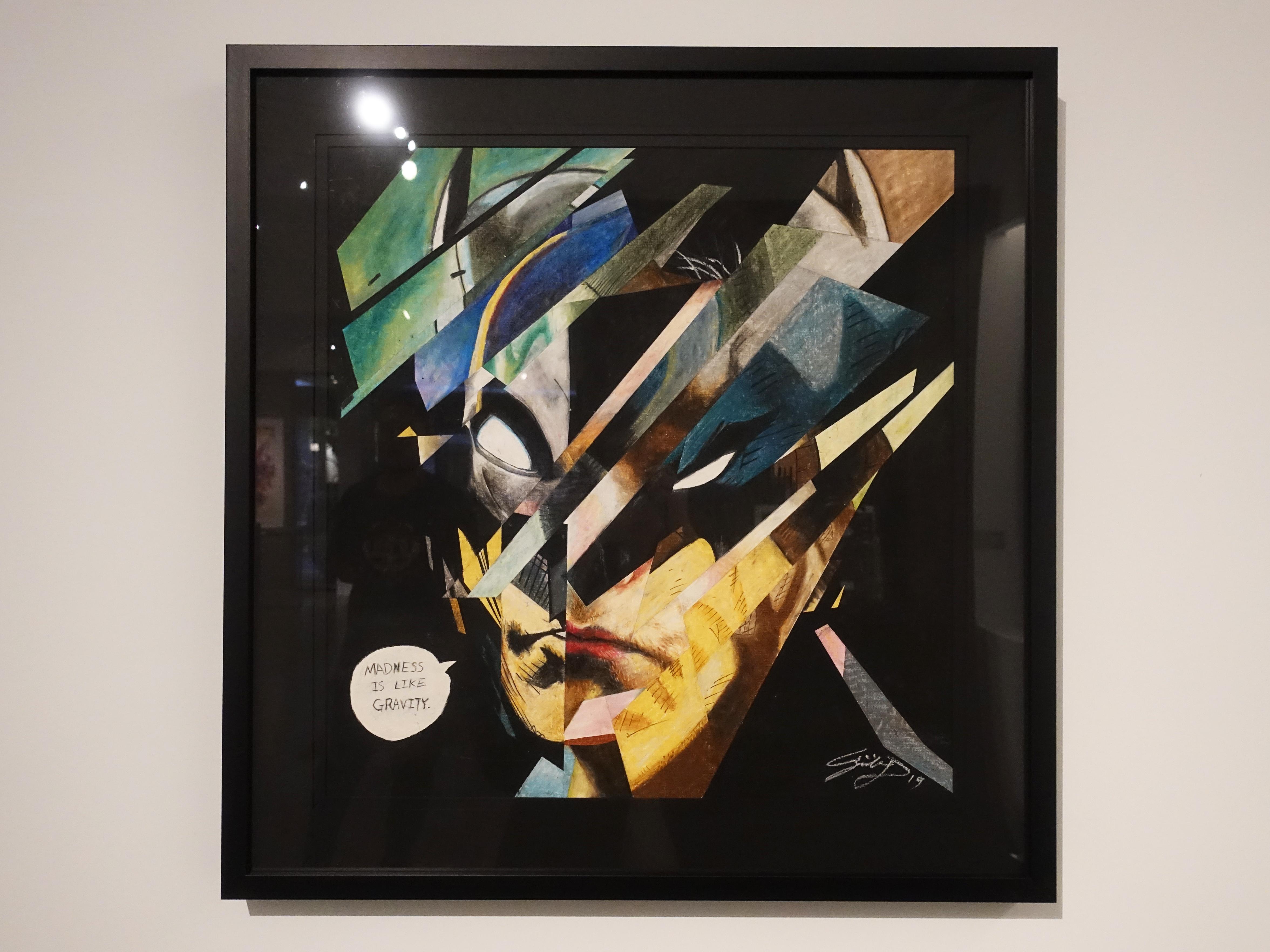 林俊良,《Madness is Like Gravity-Bat man》,110 x 61 cm,油畫棒繪於紙上。
