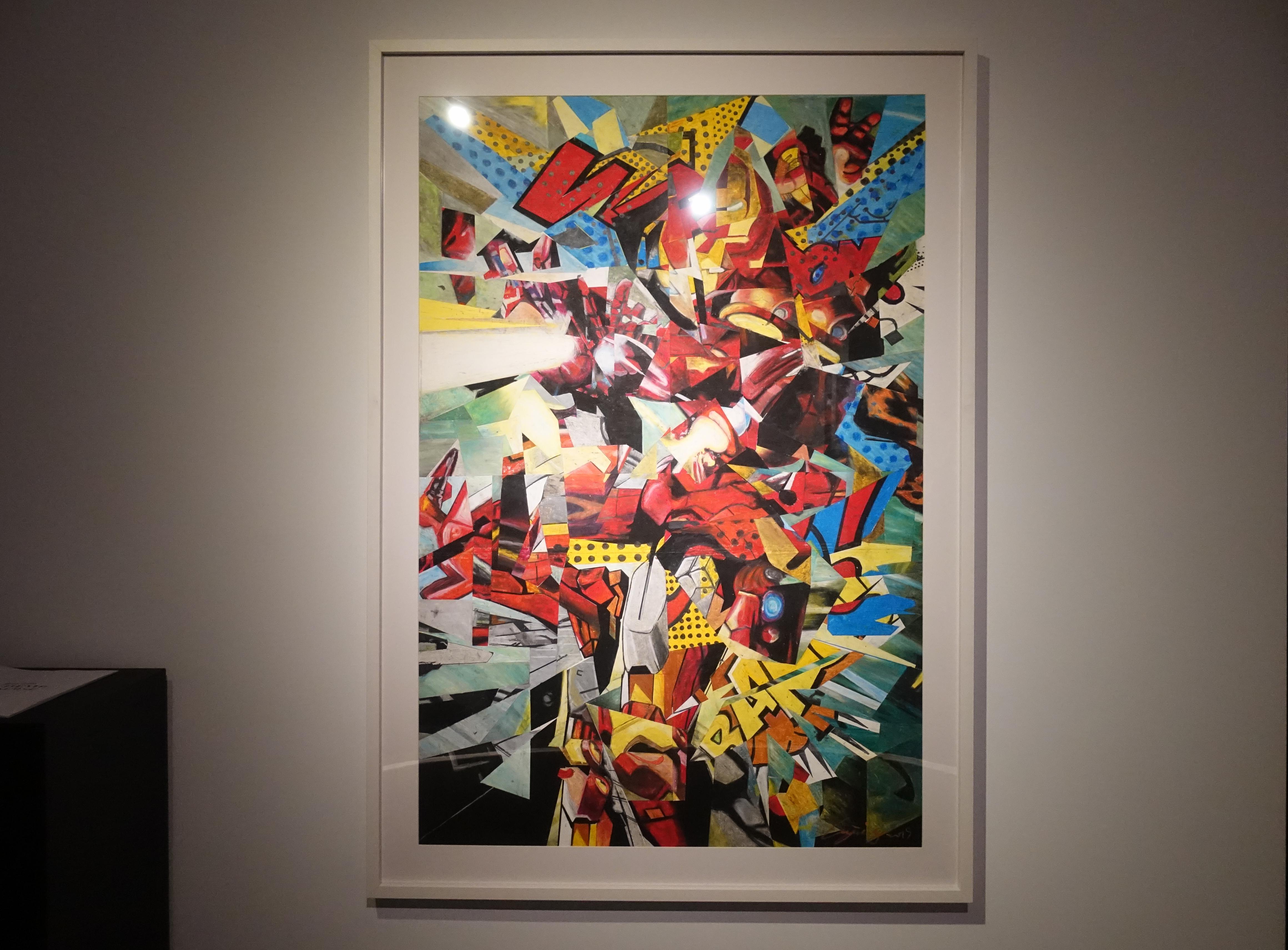 林俊良,《Under the impression of Iron Man》,110 x 61 cm,油畫棒繪於紙上。