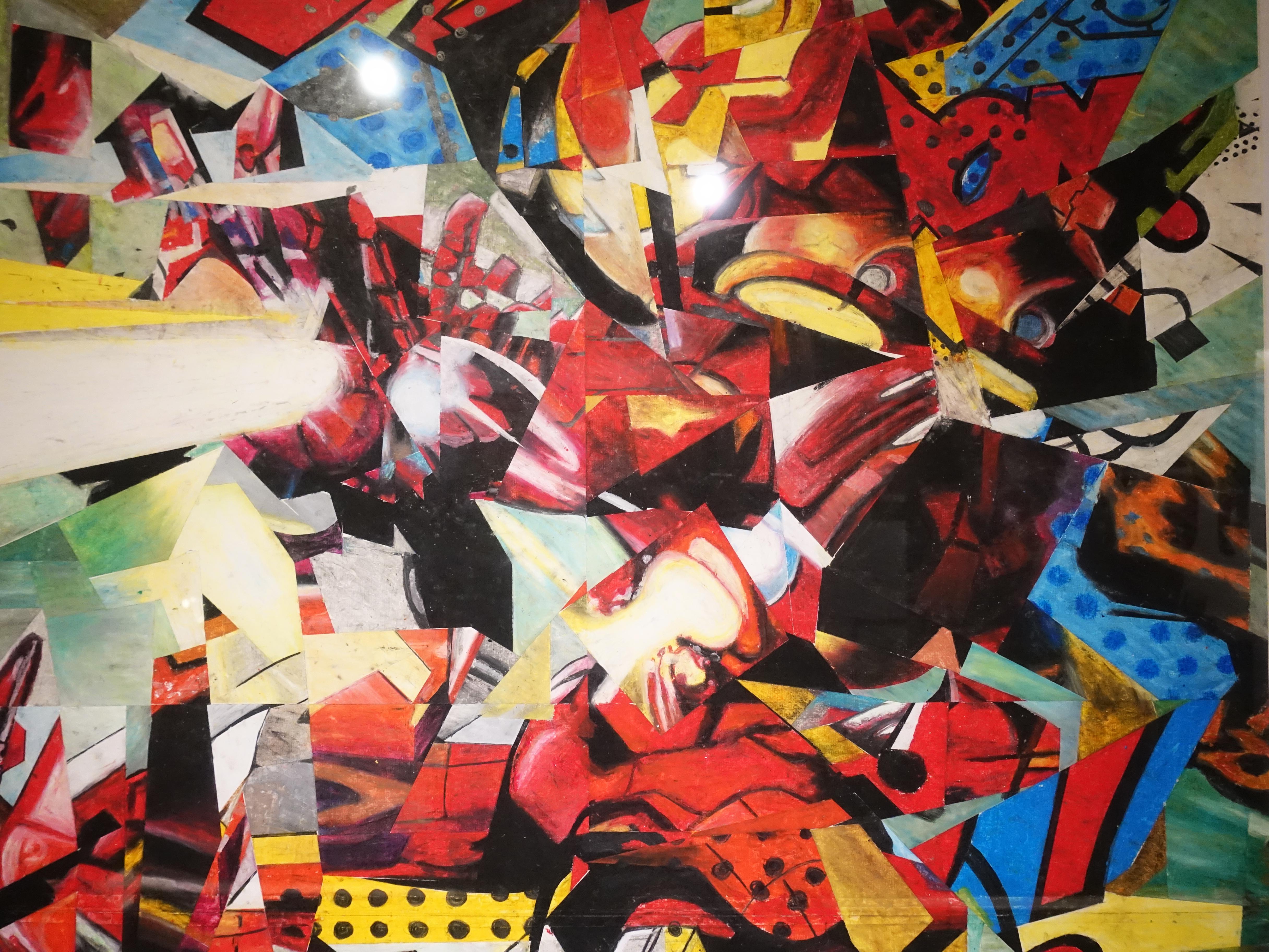 林俊良,《Under the impression of Iron Man》細節,110 x 61 cm,油畫棒繪於紙上。