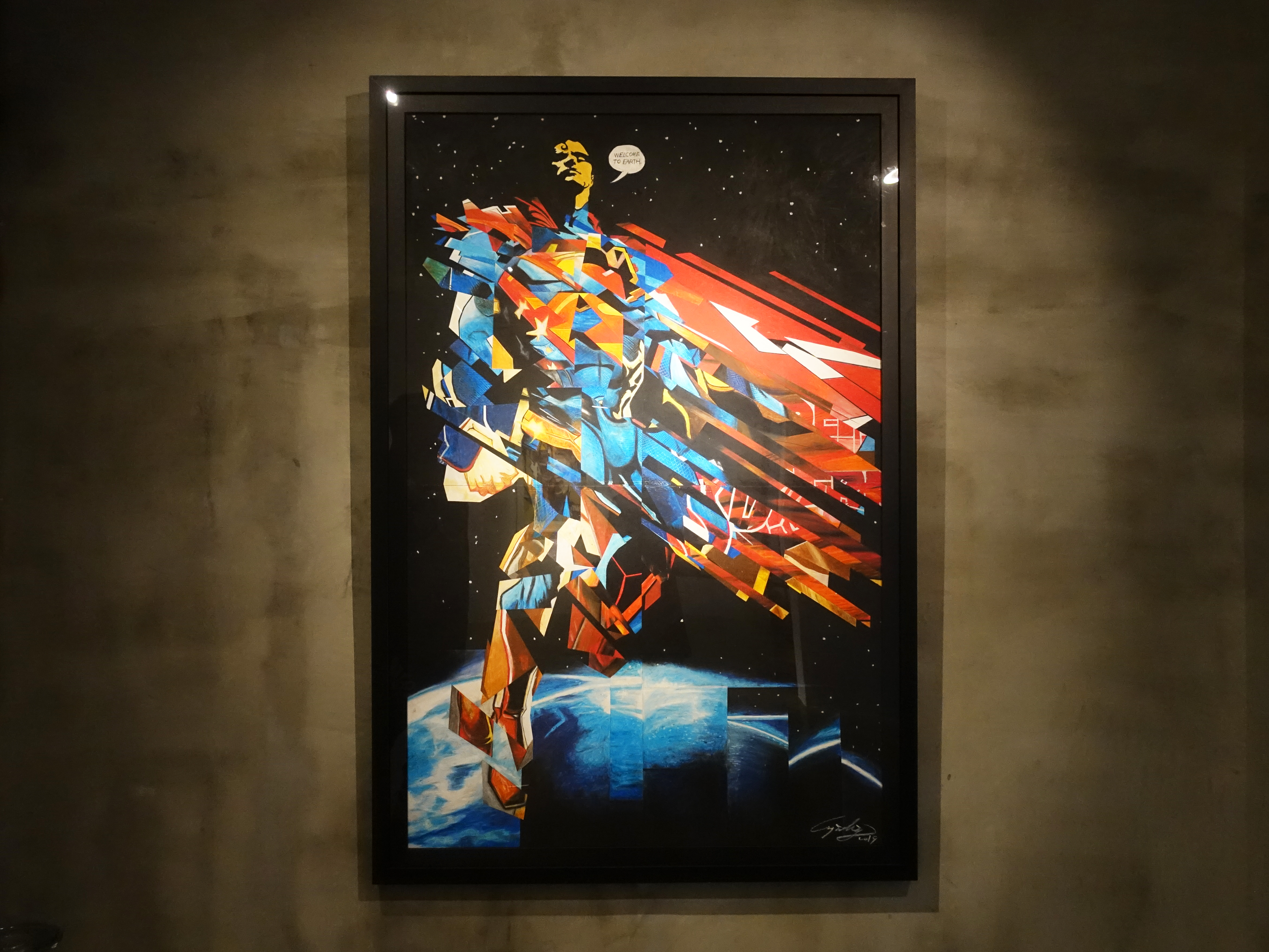 林俊良,《Under the impression of SuperMan》,110 x 61 cm,油畫棒繪於紙上。