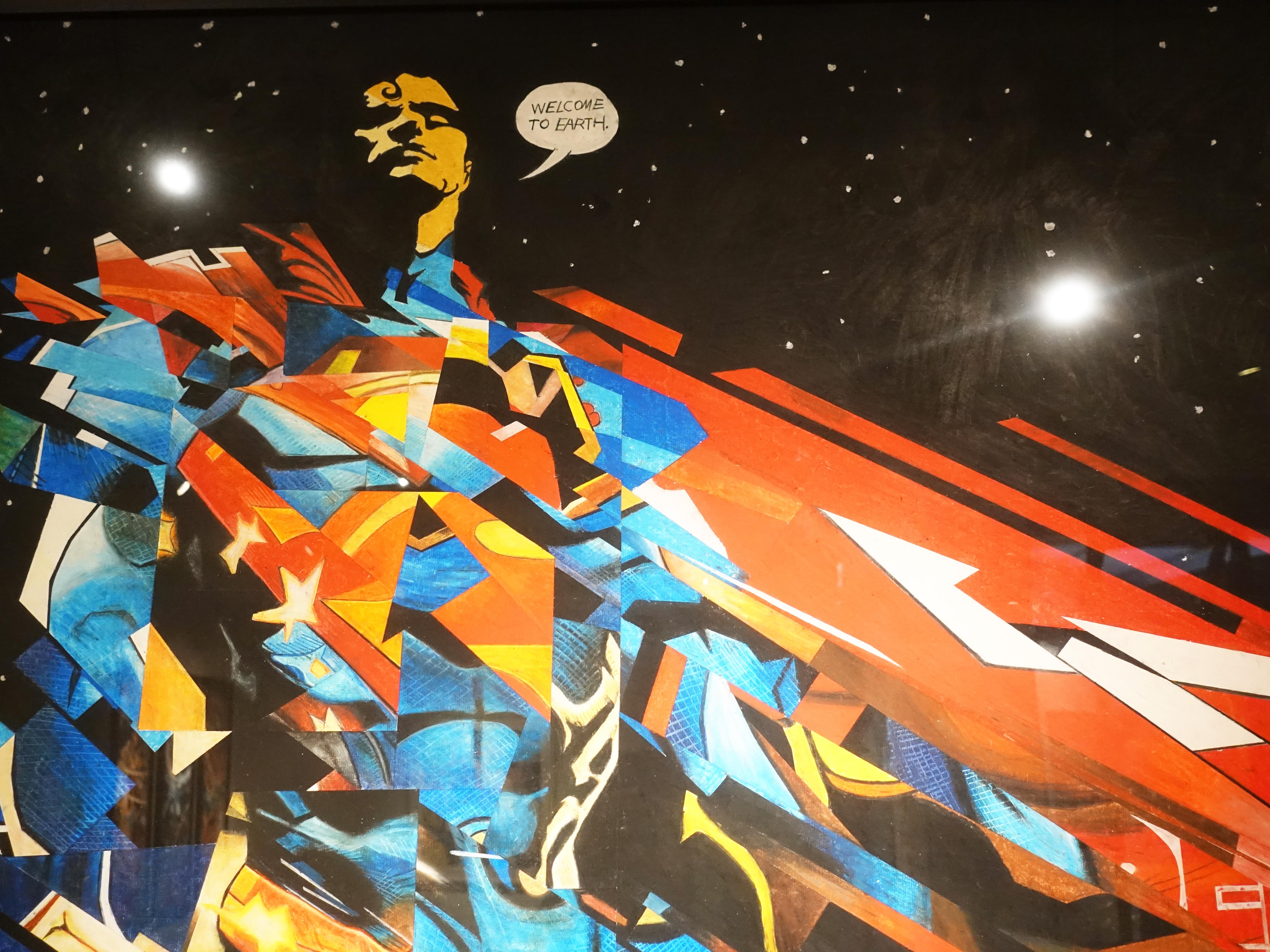 林俊良,《Under the impression of SuperMan》細節,110 x 61 cm,油畫棒繪於紙上。