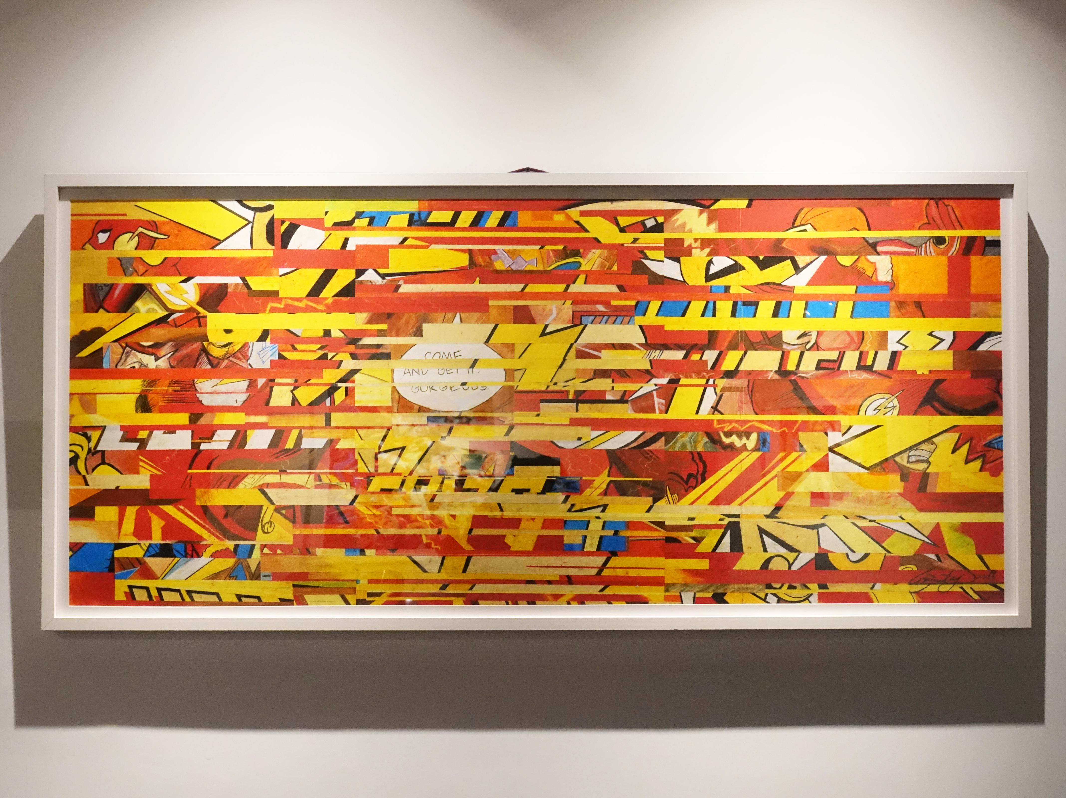 林俊良,《The Flash in Half a second》細節,64 x 148 cm,油畫棒繪於紙上。