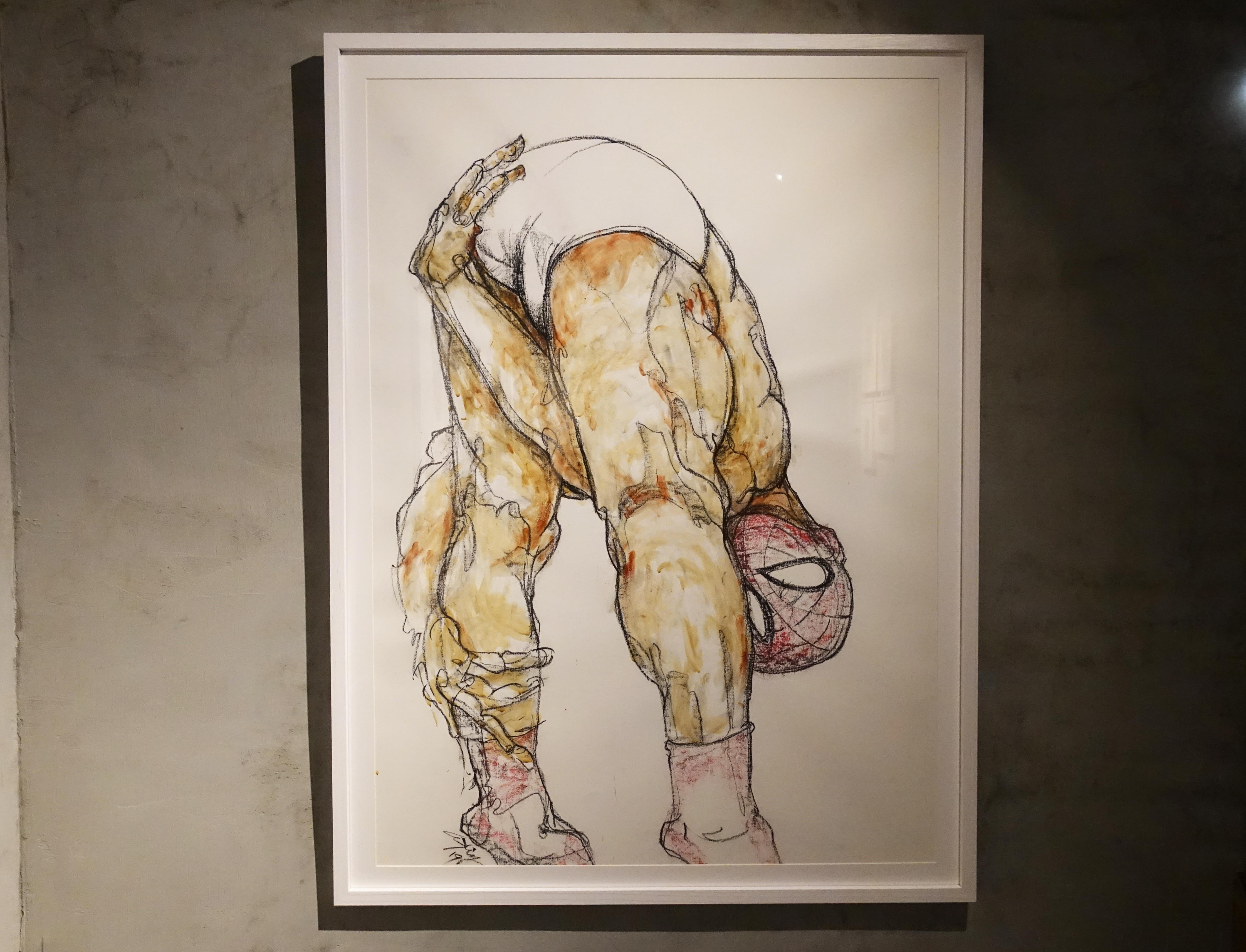 林俊良,《Man line 19119B》,105.5 x 79 cm,油畫棒、膠彩繪於紙上。