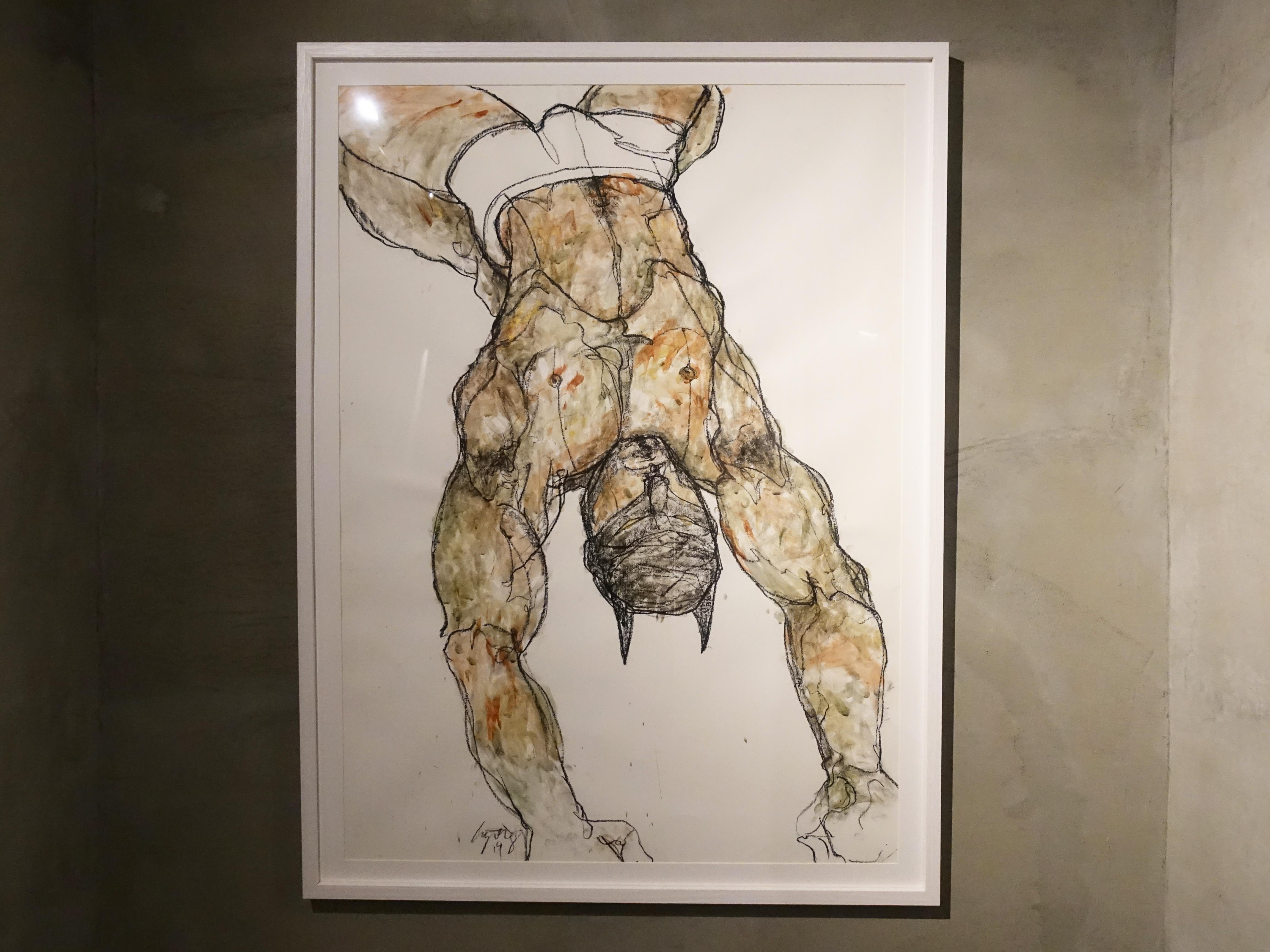 林俊良,《Man line 19119A》,105.5 x 79 cm,油畫棒、膠彩繪於紙上。